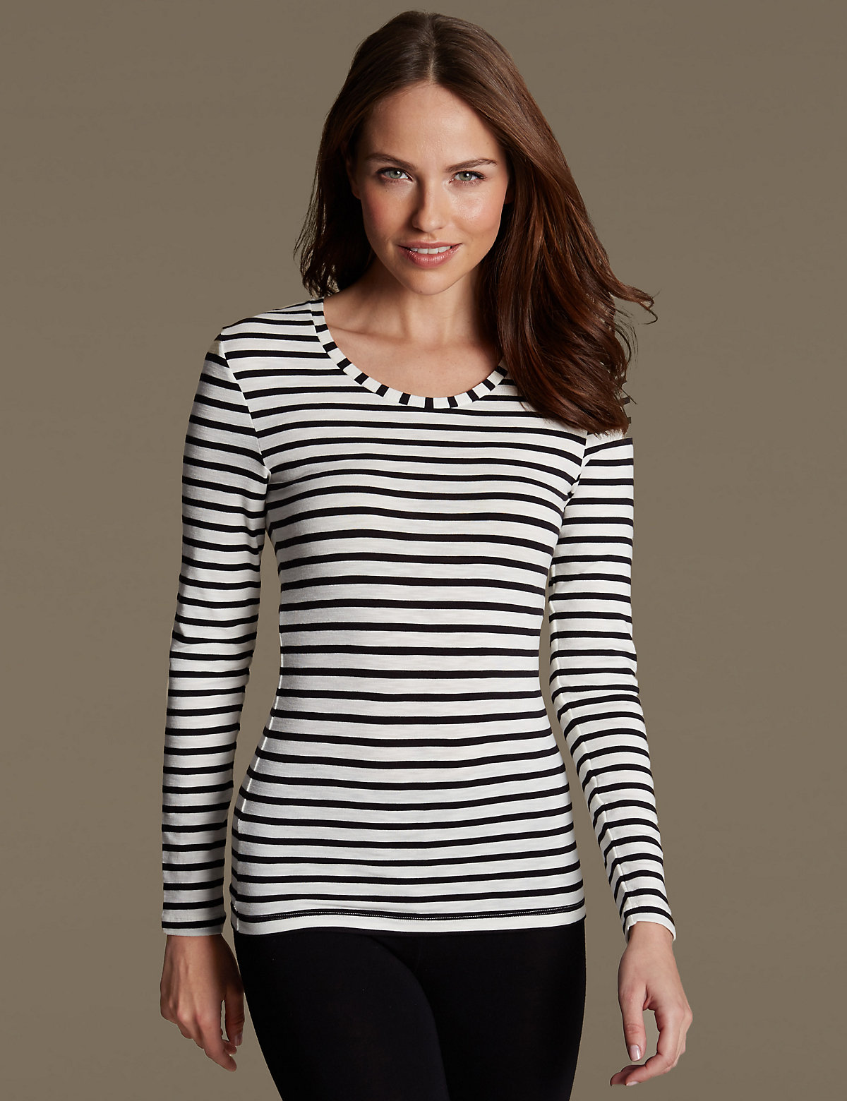 M&S Collection Thermal Long Sleeve Striped Top.