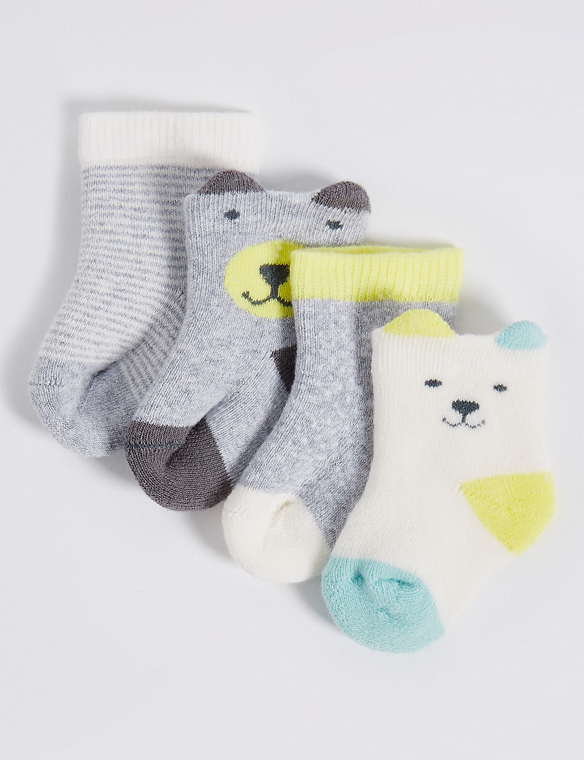 4 Pairs of Cotton Rich Socks with StaySoft (0-12 Months)