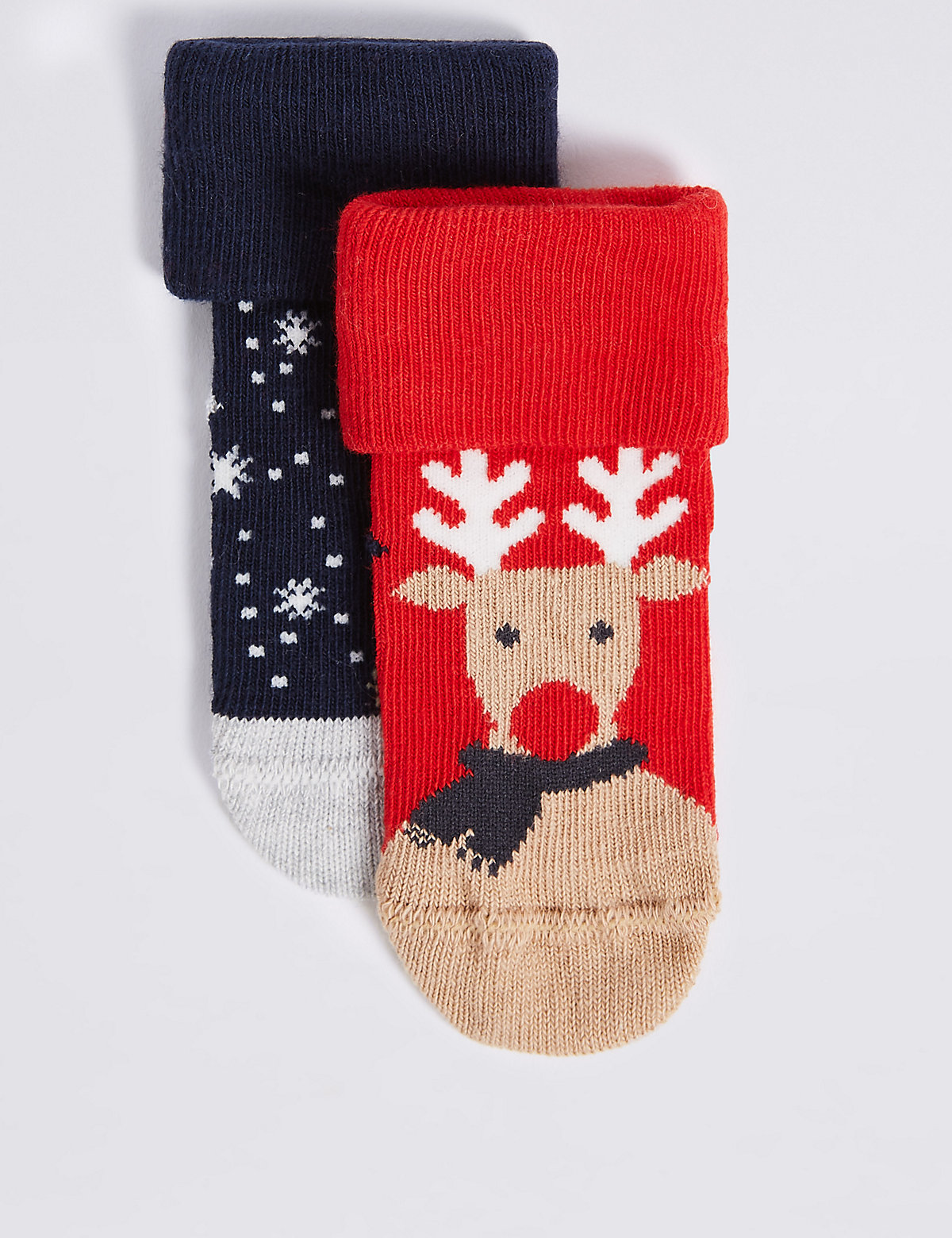 2 Pairs of Cotton Rich Reindeer Socks (0-24 Months)