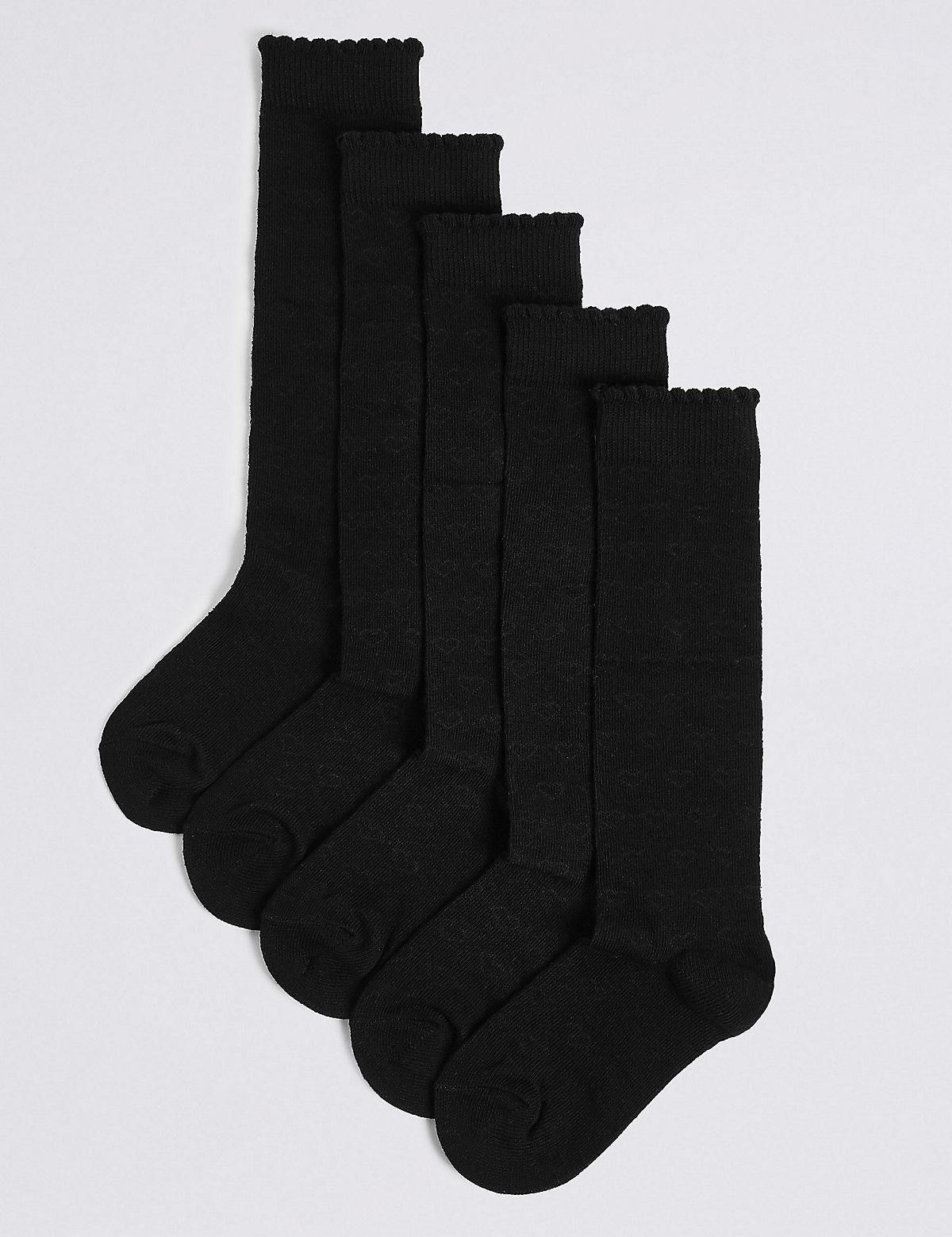 5 Pairs of Heart Print Knee High Socks (311 Years)
