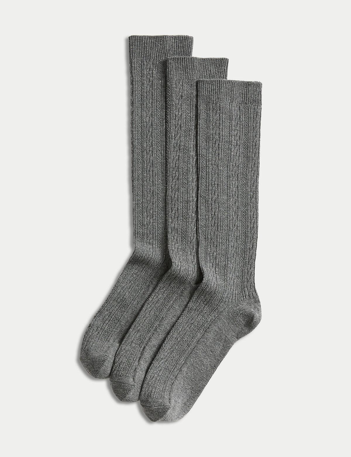 3 Pairs of Freshfeet Cable Knee High Socks (314 Years)