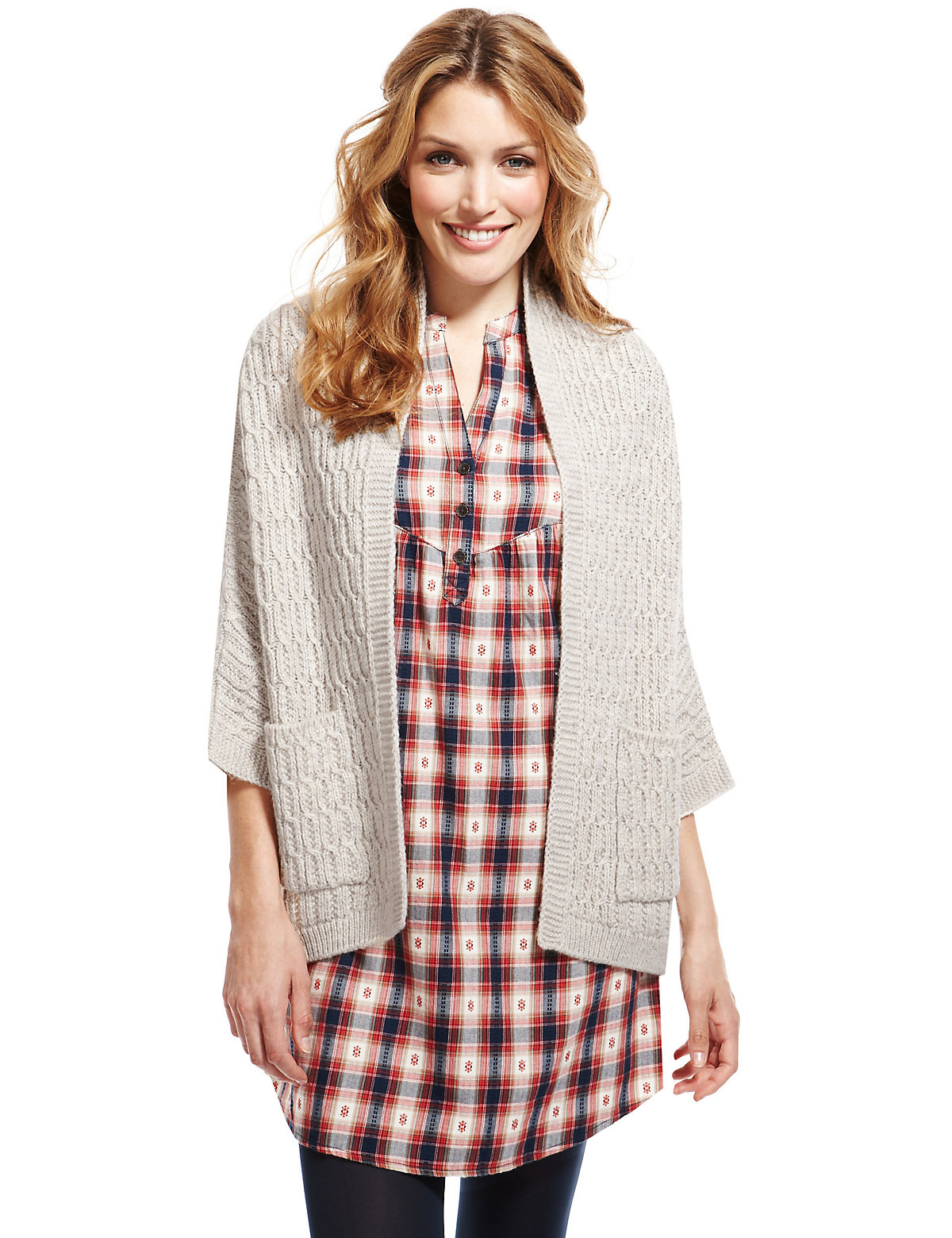 Indigo Collection Open Front Cable Knit Kimono Cardigan with Wool $39.50 AT vintagedancer.com