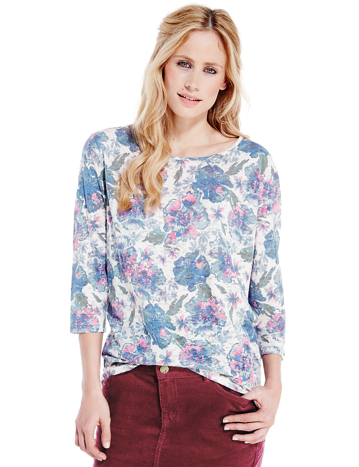 Indigo Collection Floral Burnout Top
