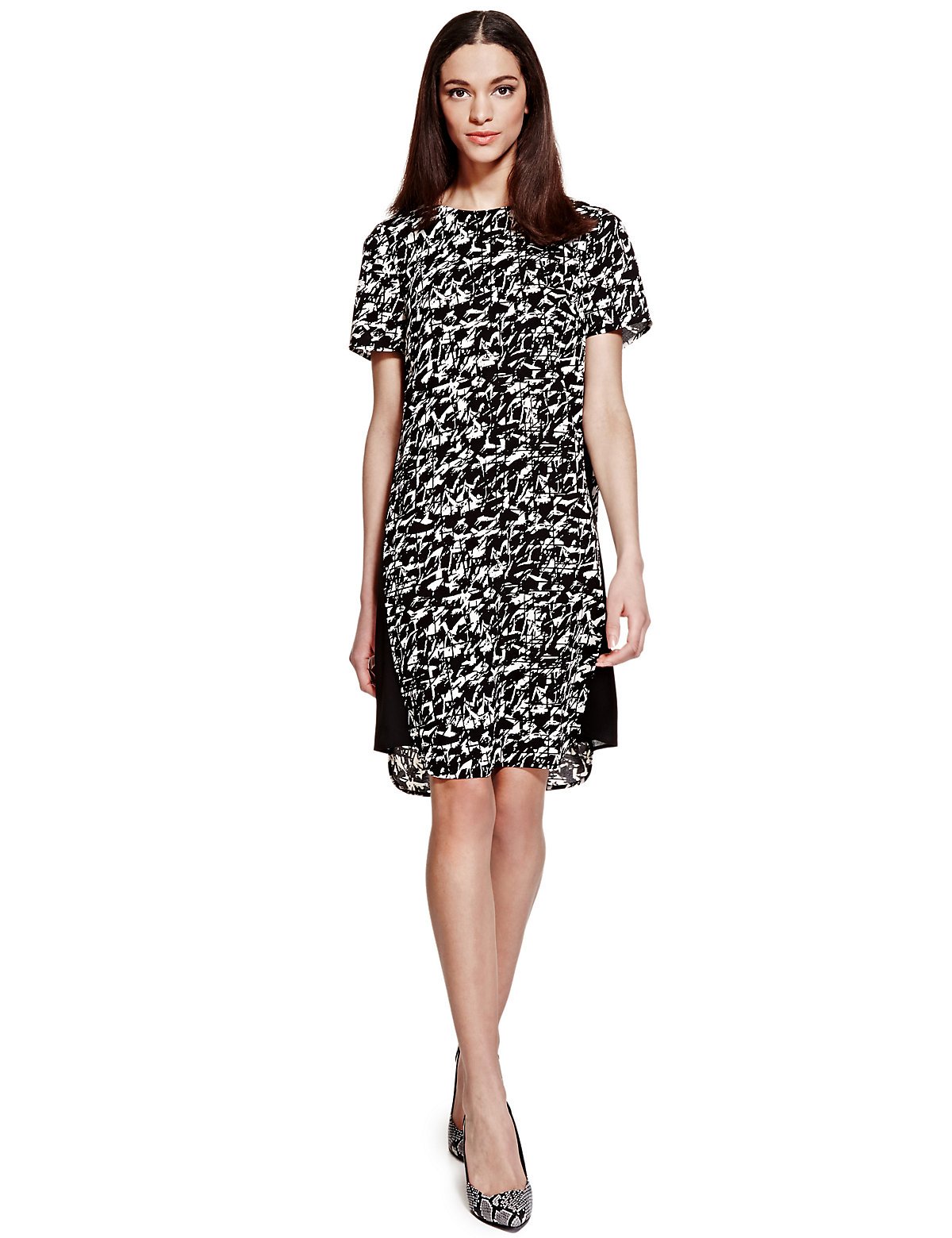 Limited Edition Abstract Print Panelled Shift Dress