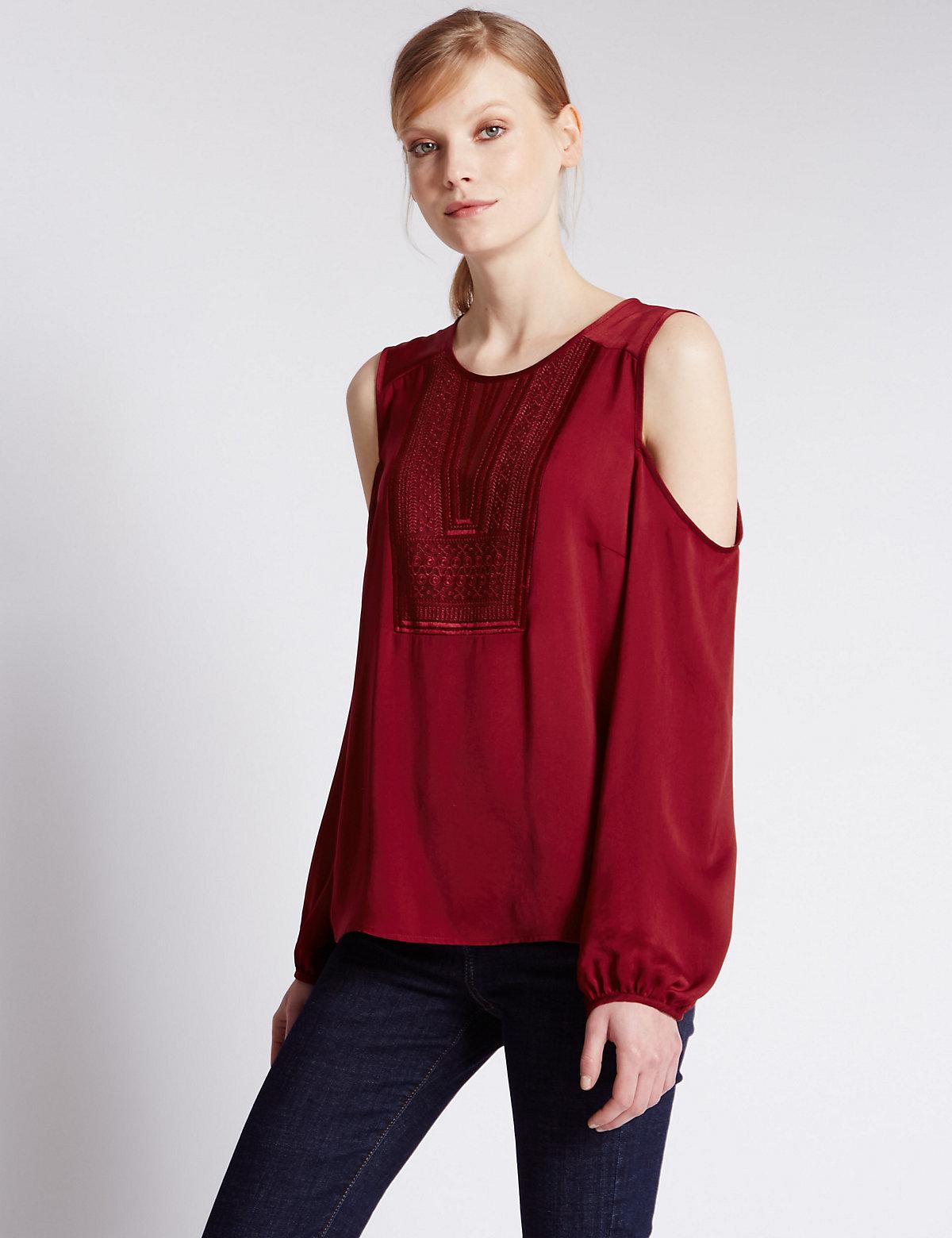 Cold Shoulder Bib Front Blouse Red 14