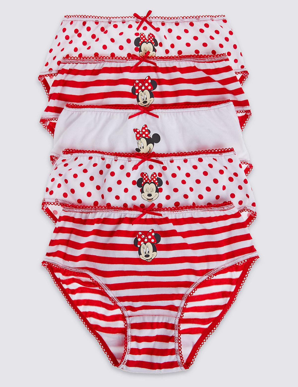 5 Pack Minnie Mouse Briefs (18 Months  7 Years)