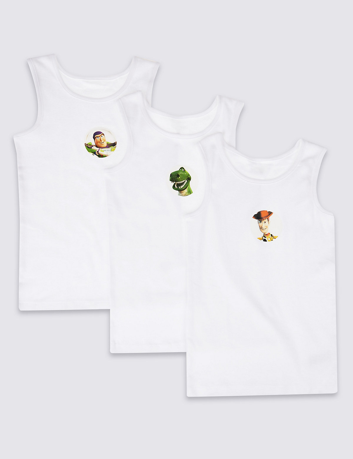 Toy Story 3 Pack Pure Cotton Vests (110 Years)