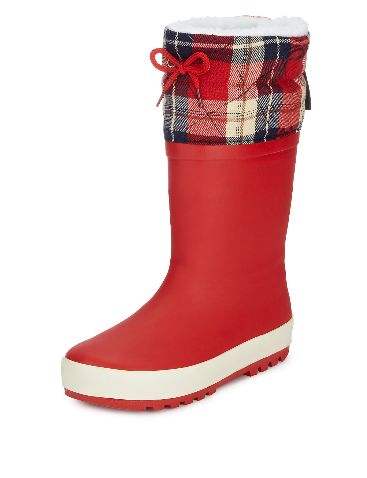 Checked Cuff Welly Boots with Thinsulate (Younger Girls)