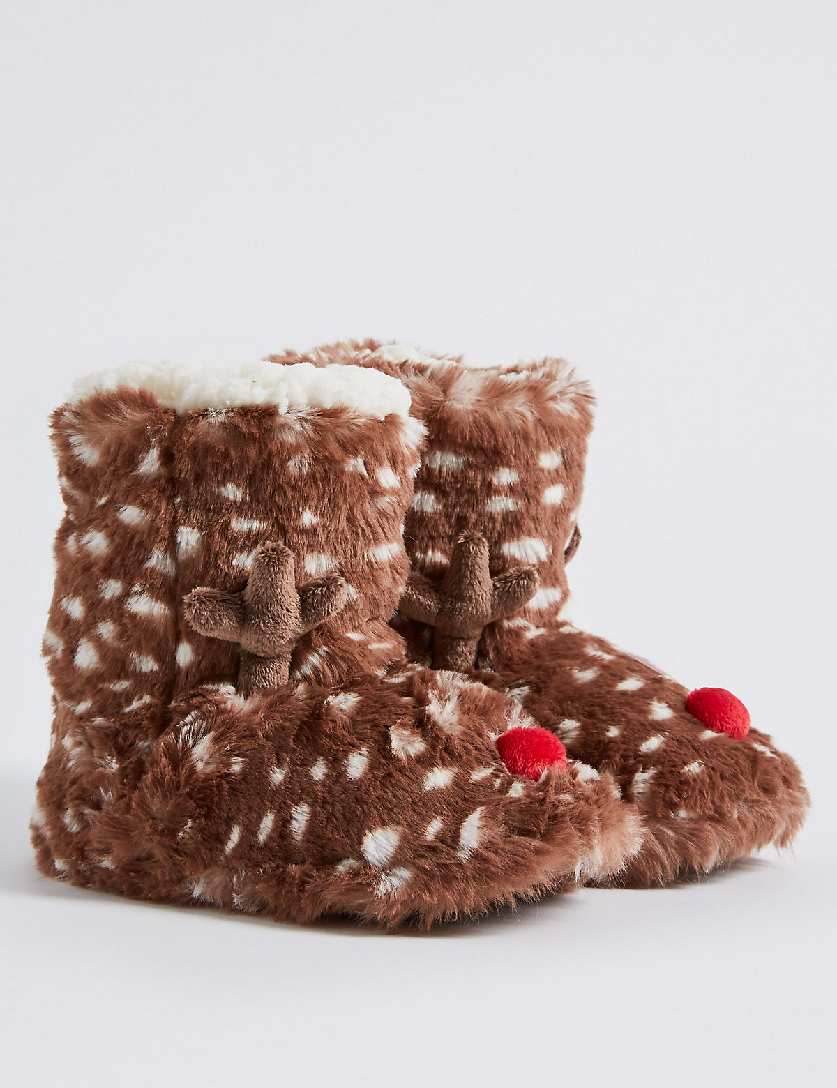 Kids' Faux Fur Reindeer Slipper Boots