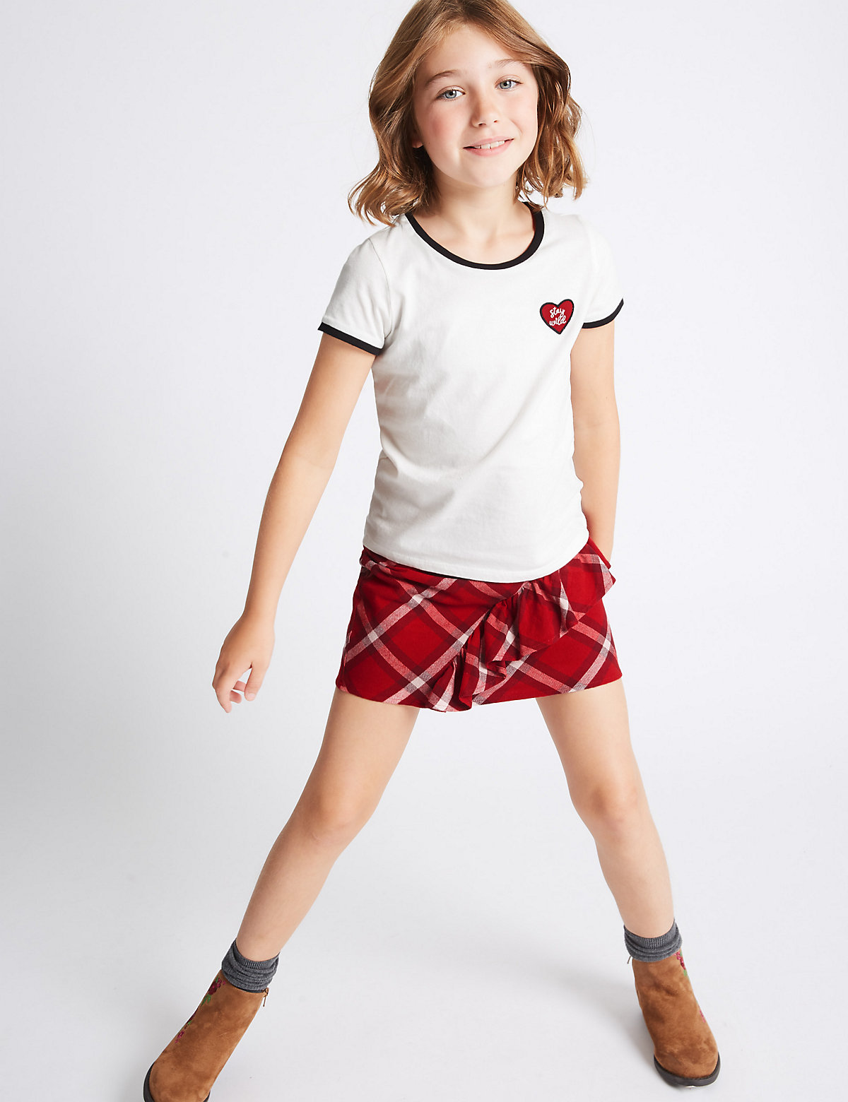 2 Piece Pure Cotton T-Shirt with Skirt Outfit (3-14 Years)