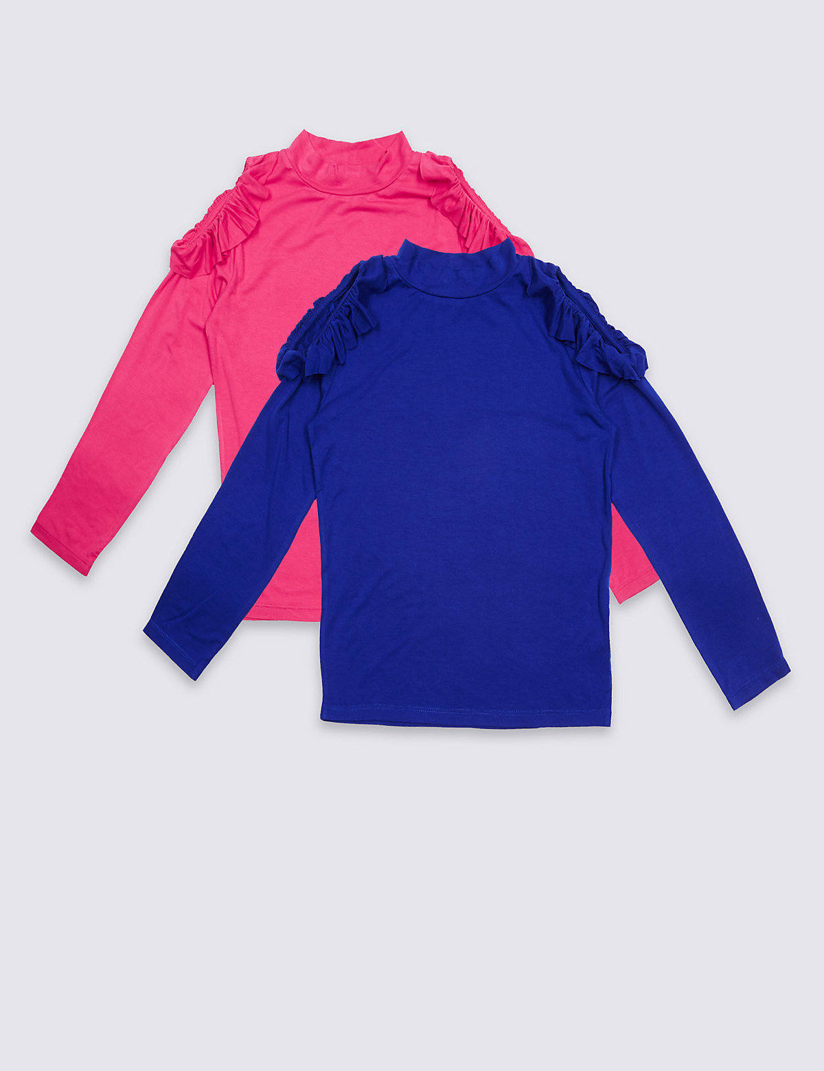 2 Pack Long Sleeve Jersey Tops (3-14 Years).