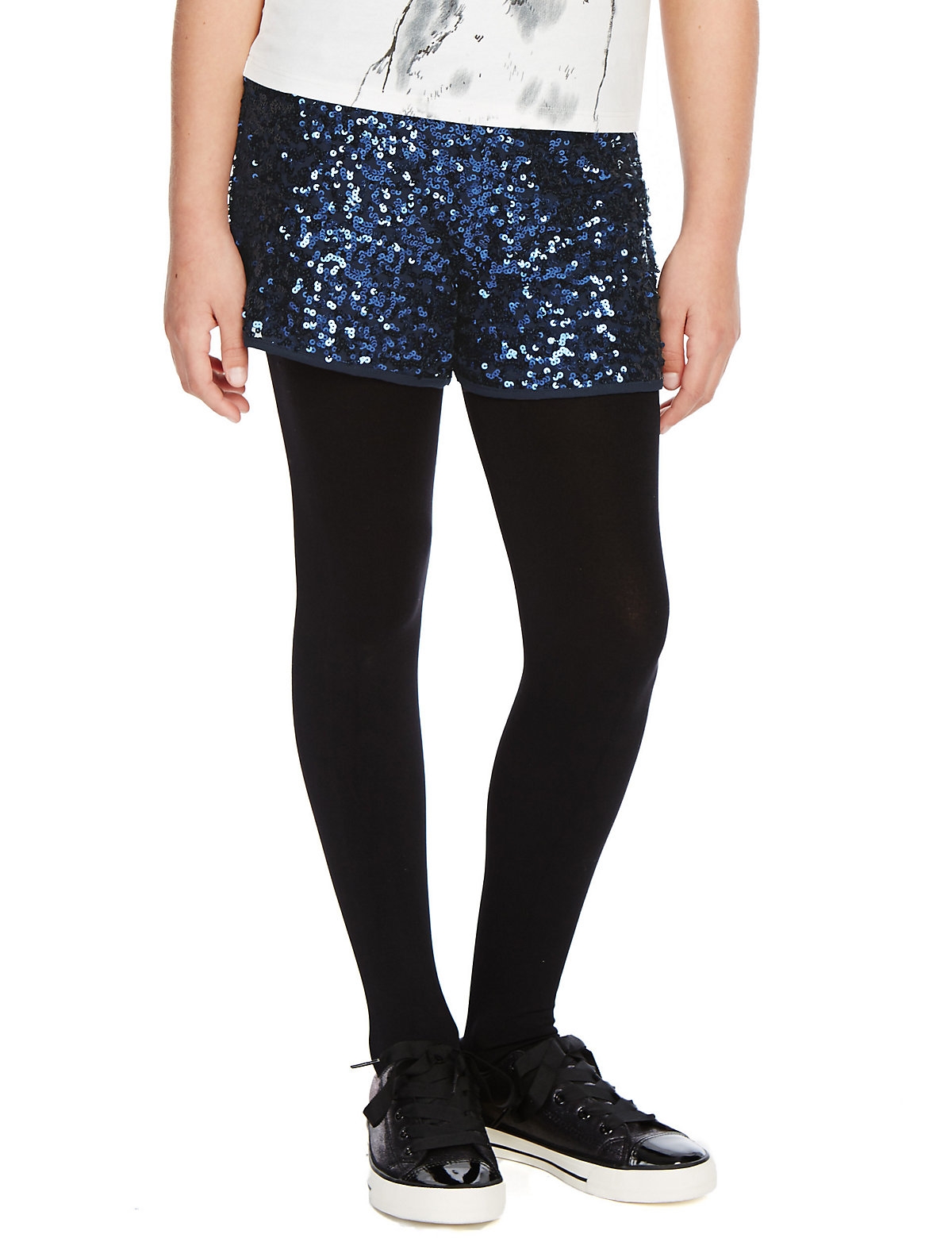 Sequin Embellished Shorts 5 14 Years Blue 13 14 Years