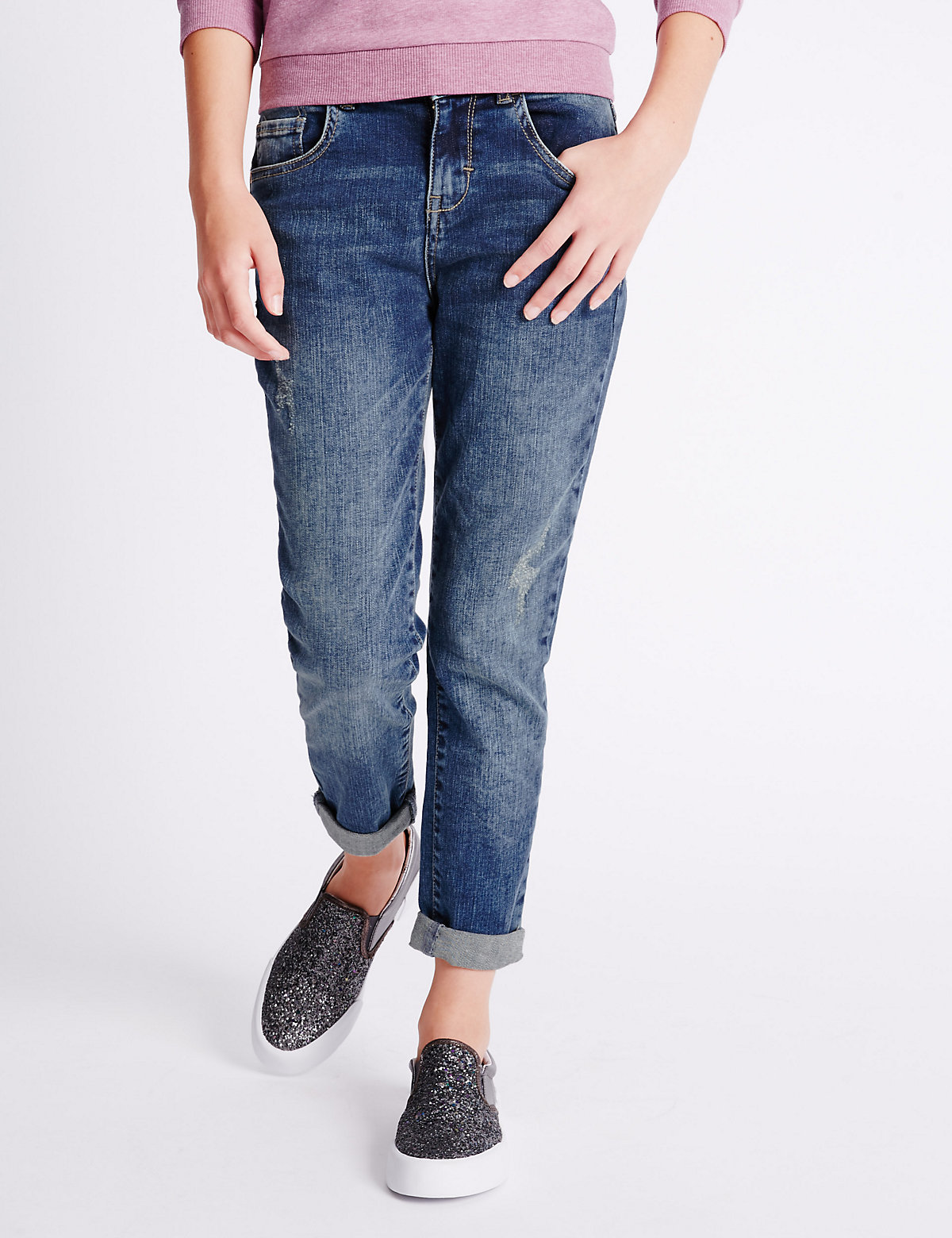 Boyfriend Jeans with Adjustable Waist (3-14 Years)