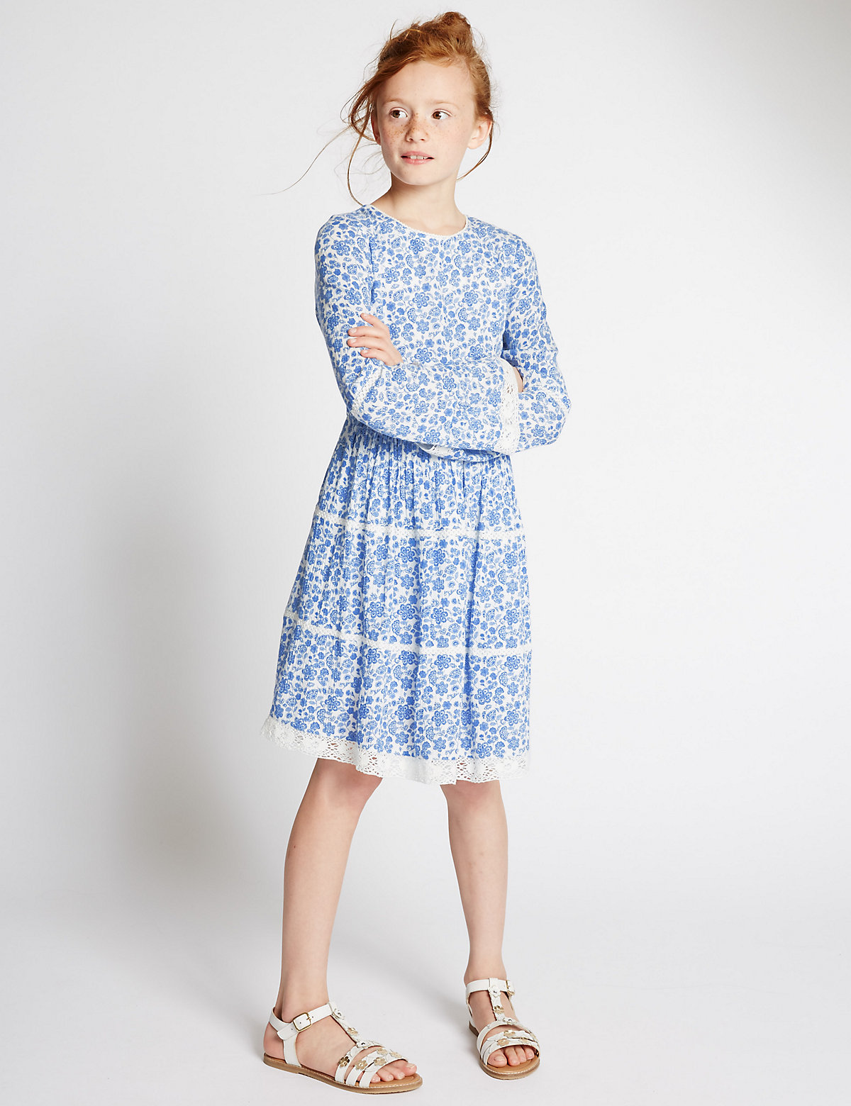 Lace Trim Floral Dress (5-14 Years)