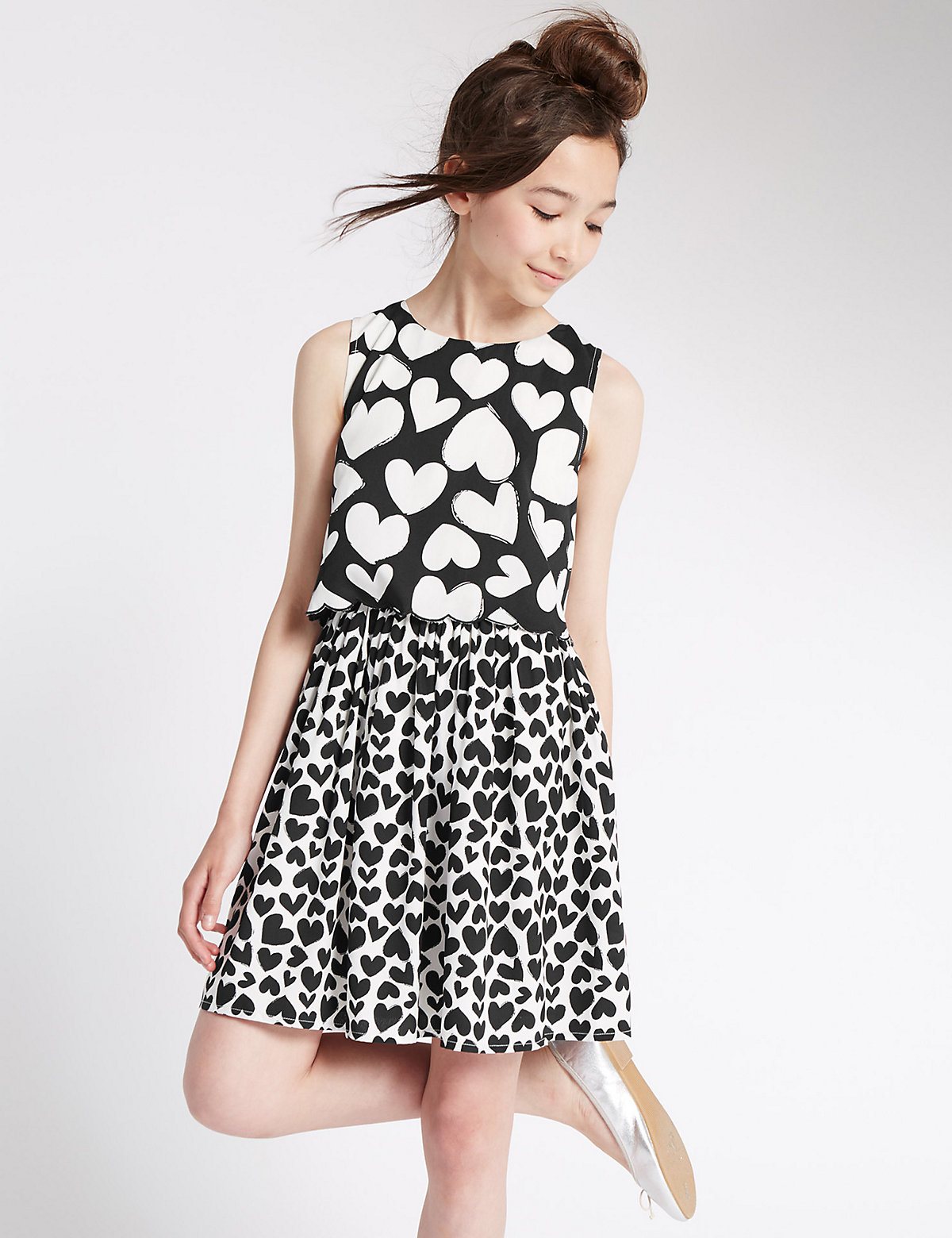 2-in-1 Heart Print Dress (5-14 Years)