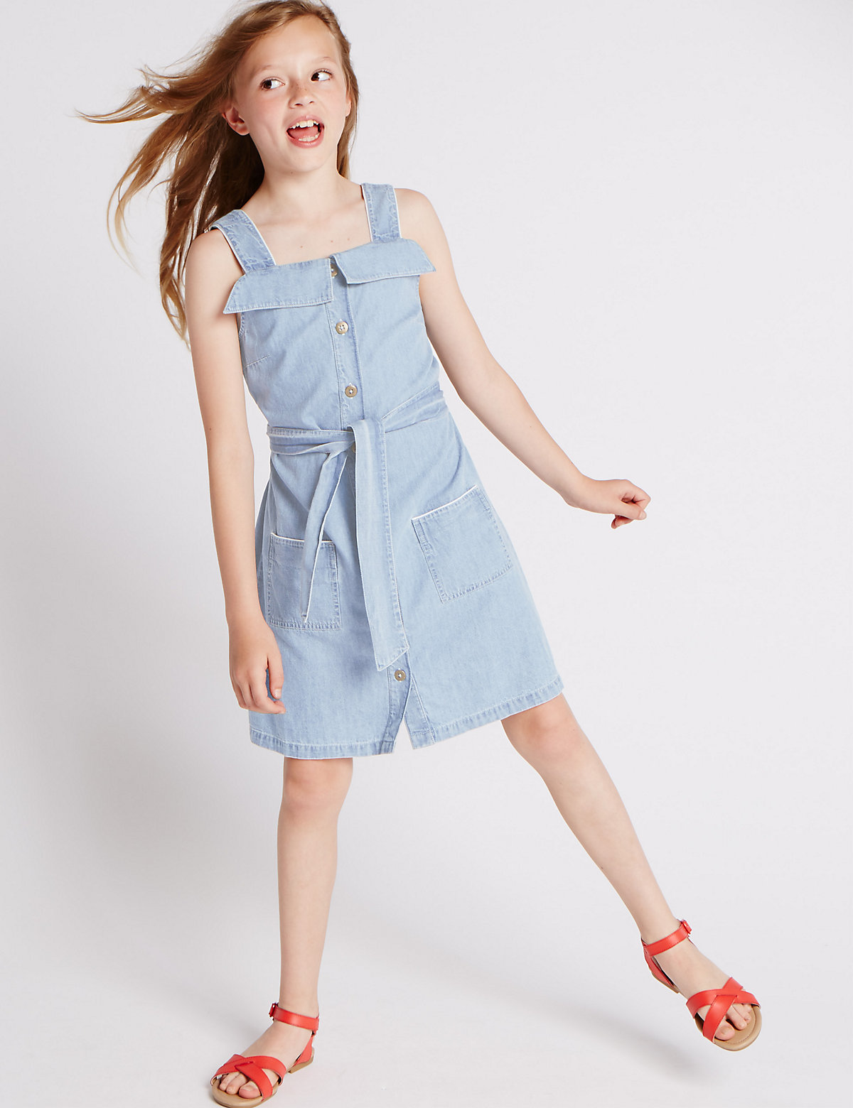 Pure Cotton Belted Denim Dress (5-14 Years)
