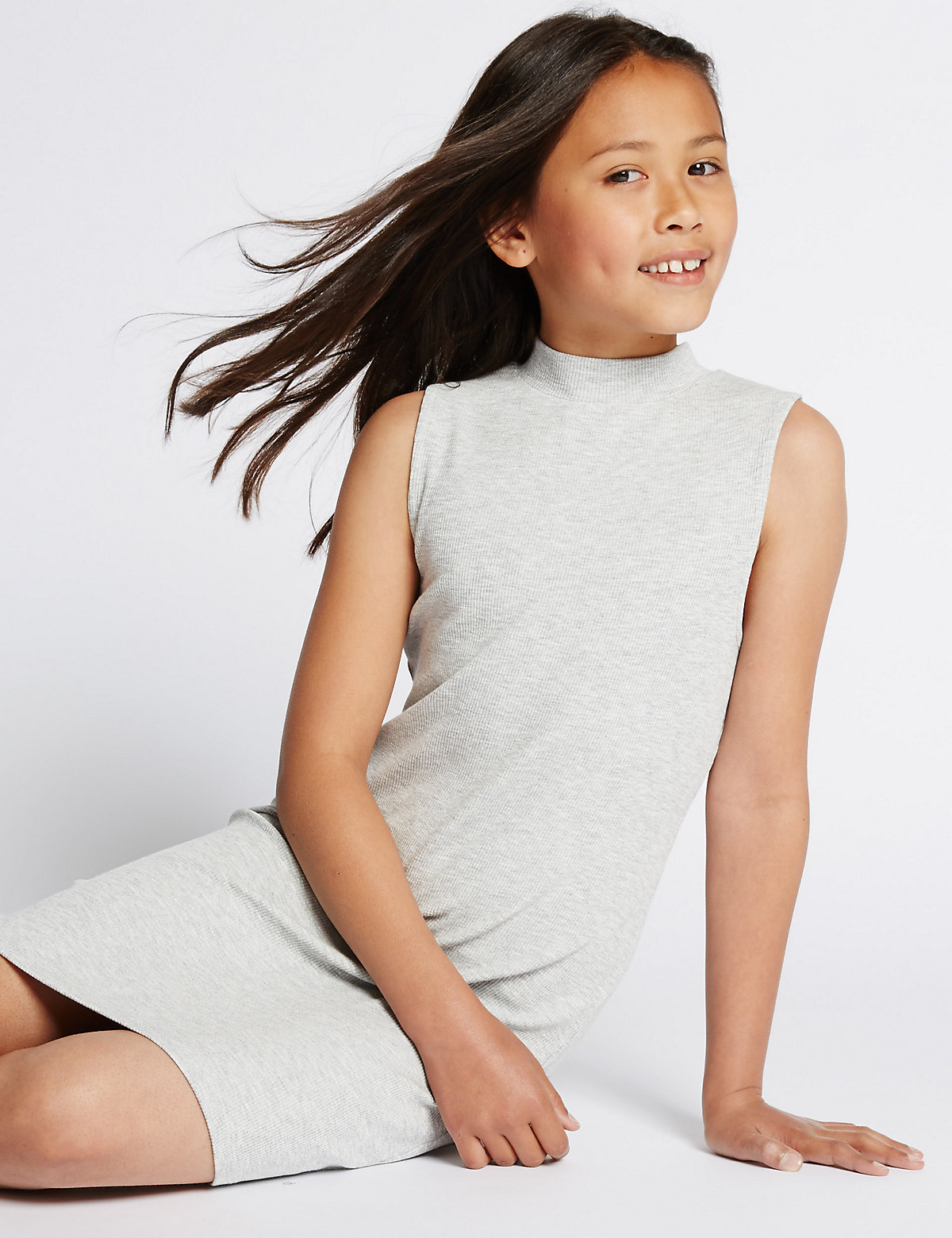 Ribbed Maxi Dress with StayNEW (5-14 Years)