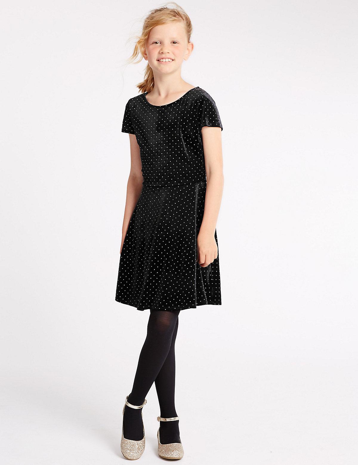 Short Sleeve Velvet Dress (5-14 Years)