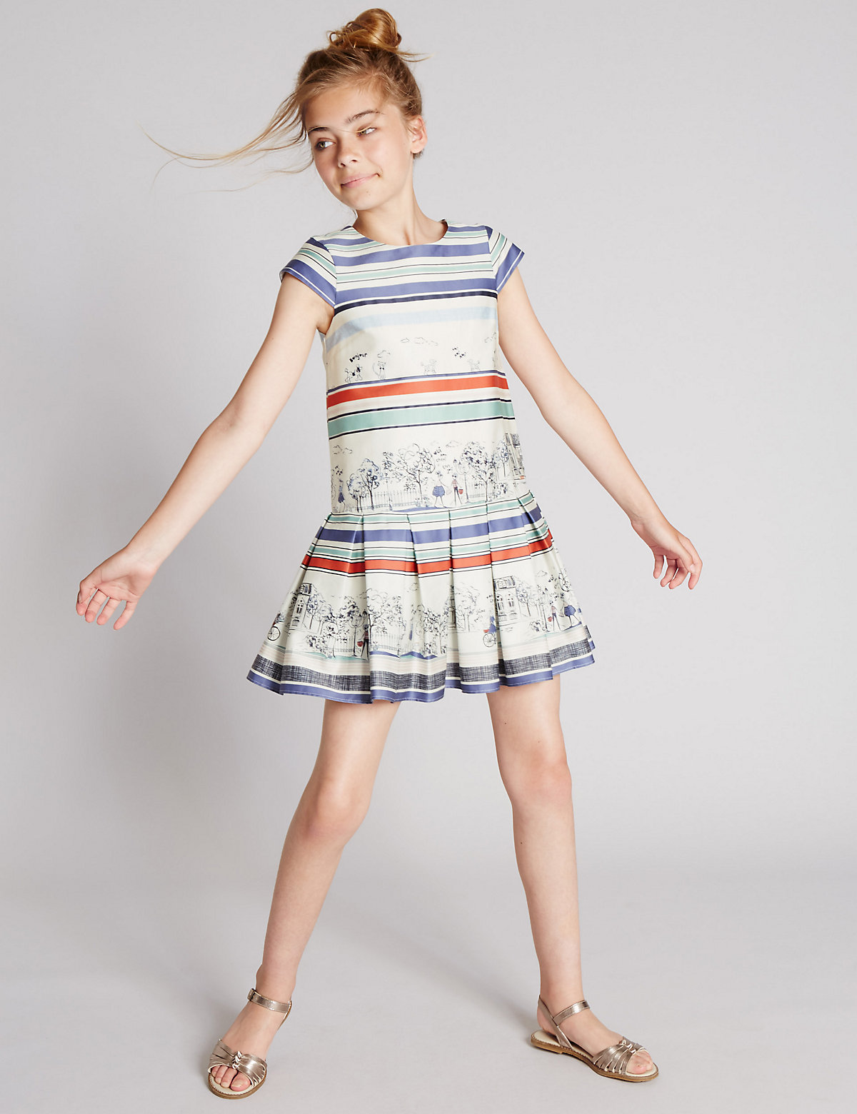 Autograph Cotton Rich Scenery Dress (5-14 Years)