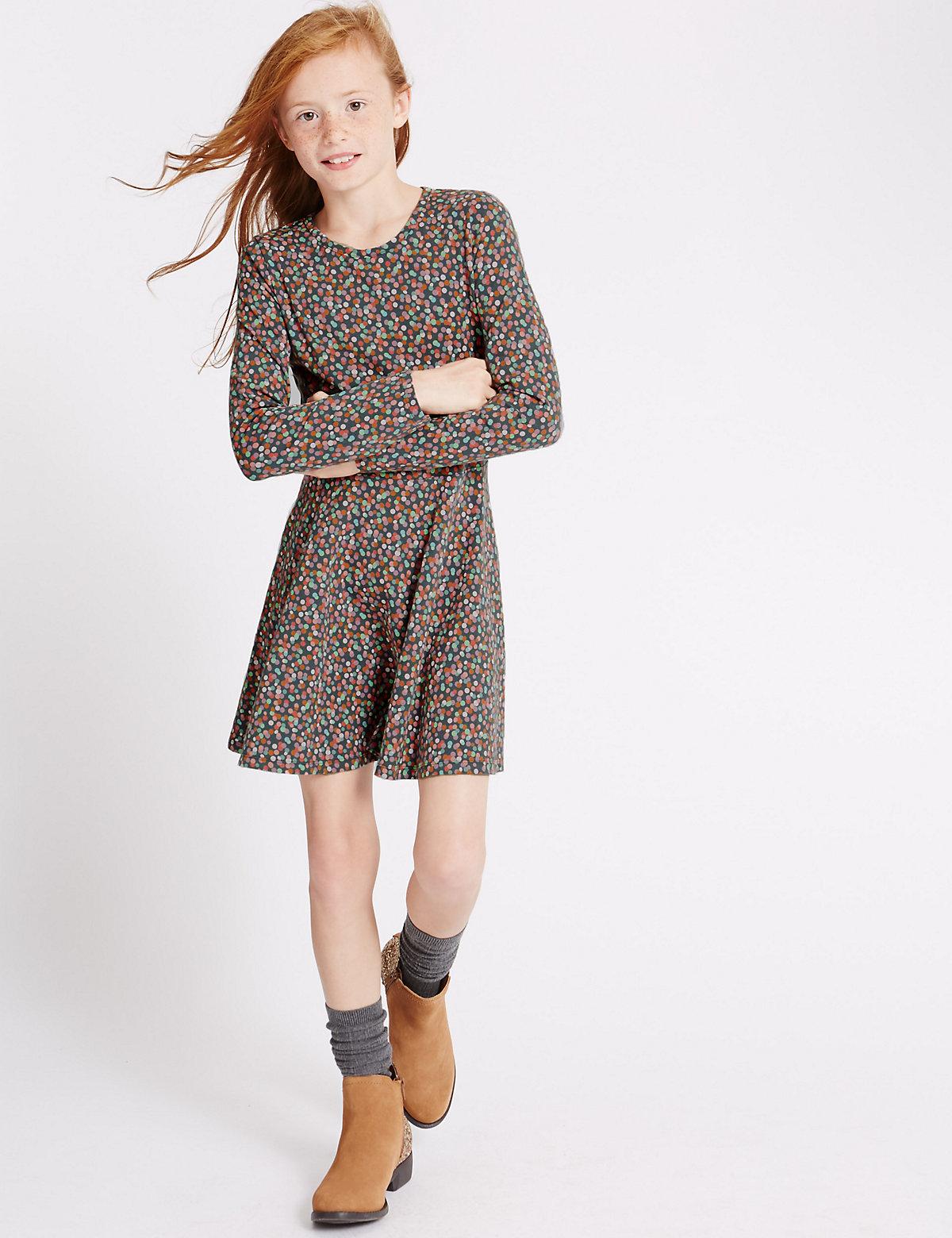 Cotton Rich Spot Dress (5-14 Years)