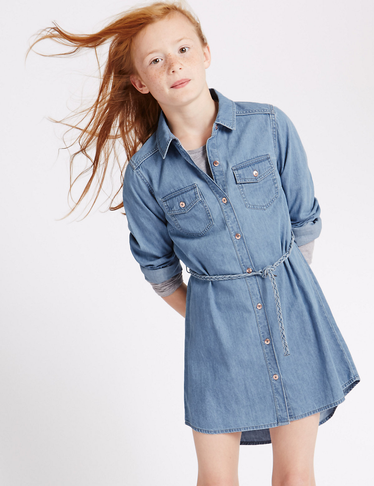 Pure Cotton Denim Shirt Dress with StayNEW (3-14 Years)
