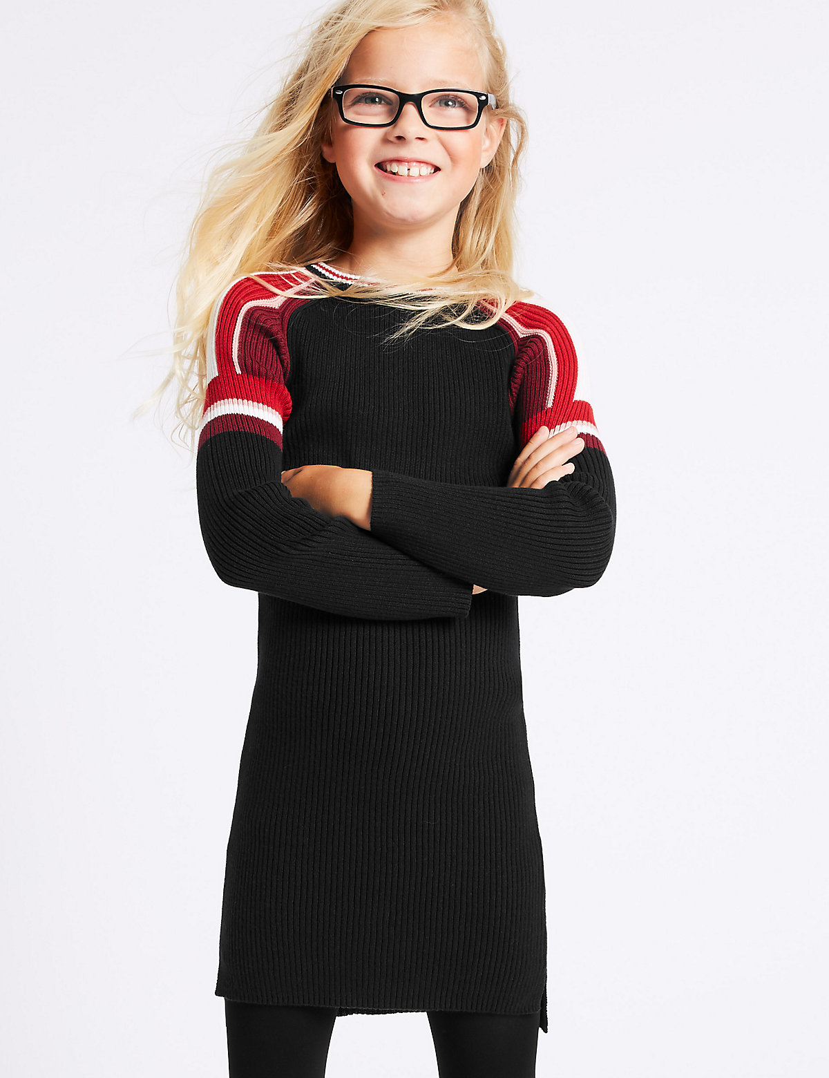 Pure Cotton Knitted Dress (3-14 Years)