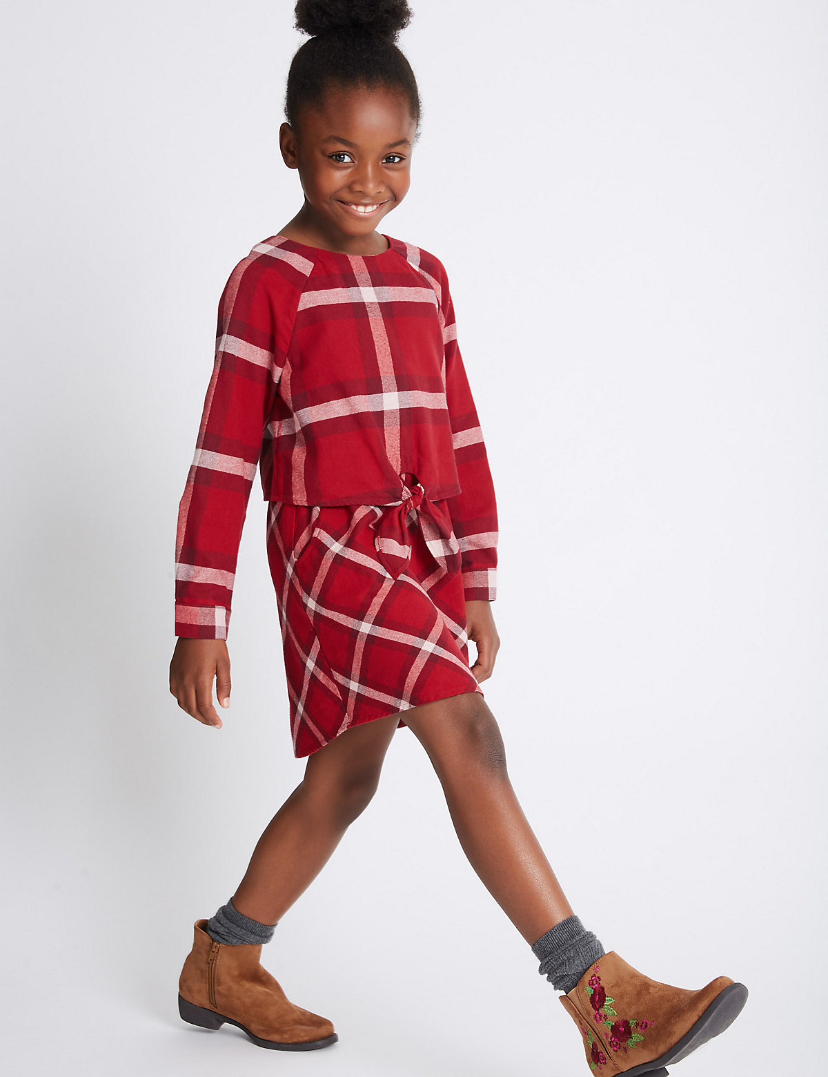 Pure Cotton Checked Long Sleeve Dress (3-14 Years)