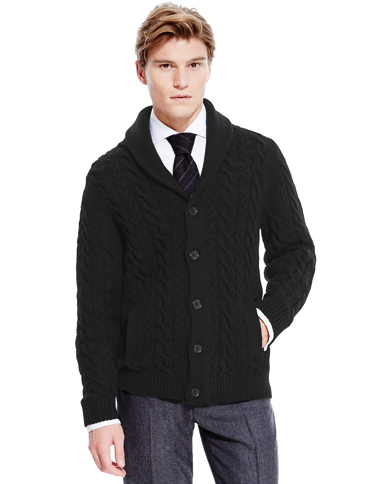 M  S Collection Best of British Pure Lambswool Cable Knit Cardigan $149.00 AT vintagedancer.com
