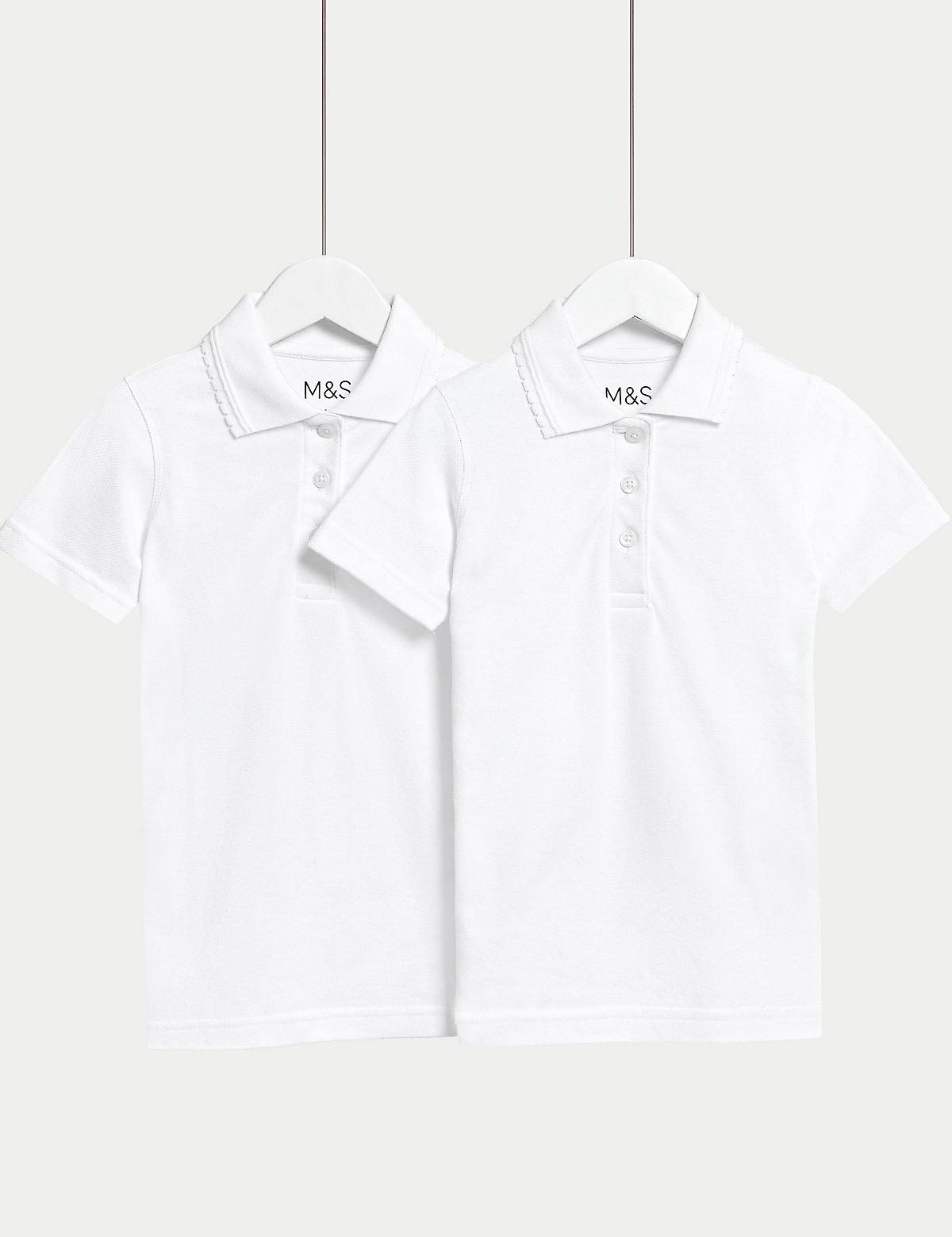 2 Pk Girls' Slim fit Stain Resist Polo Shirts