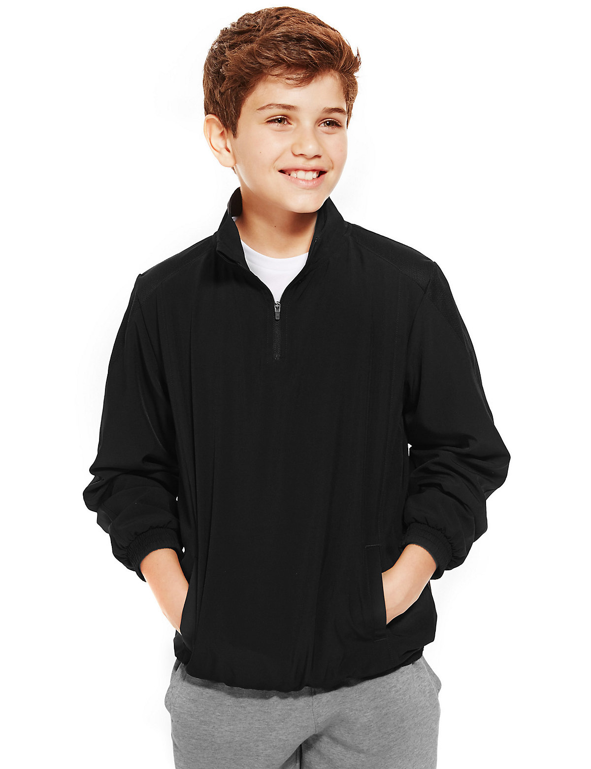 Boys Funnel Neck Zip Through Lined Track Top with Active Sport