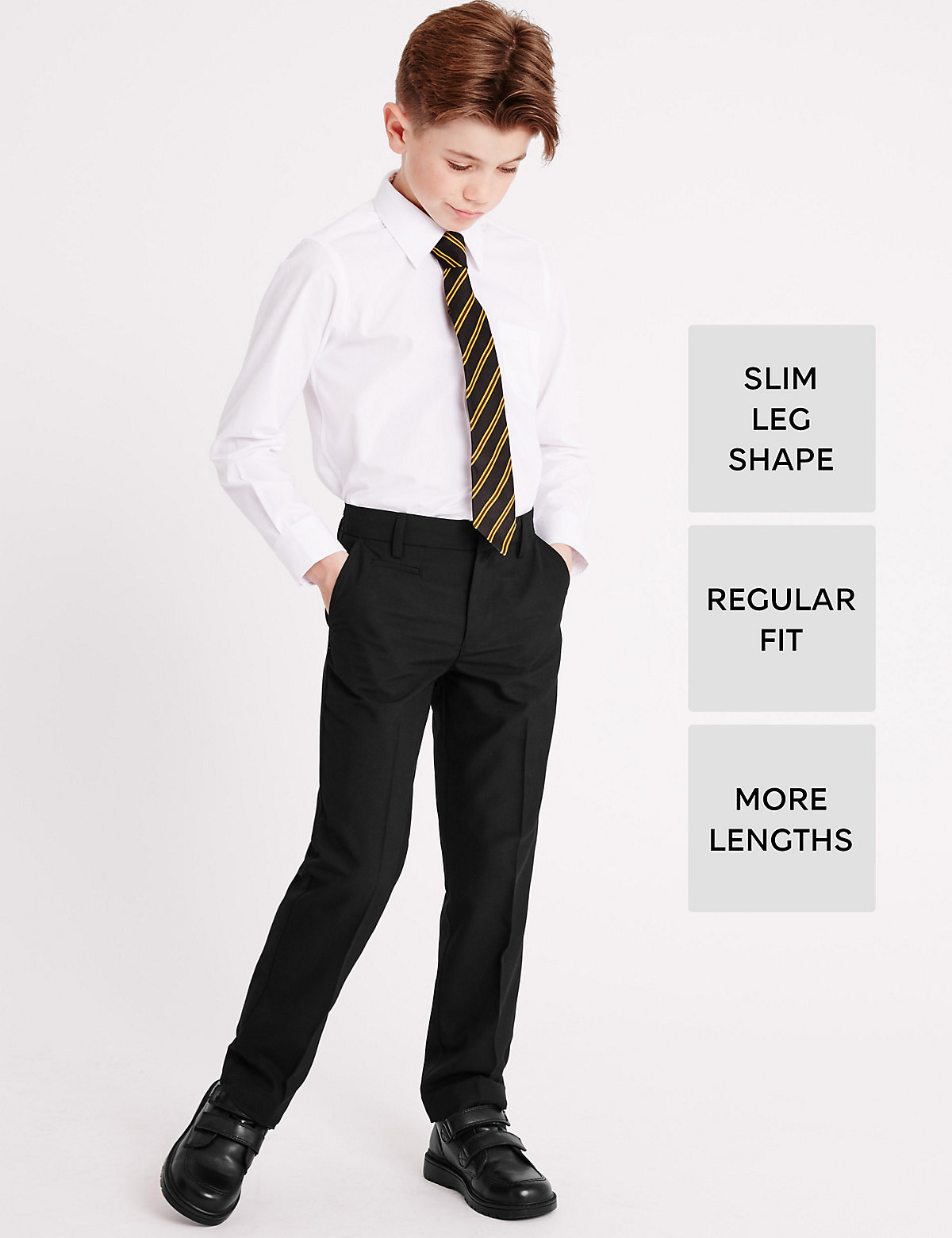 Image of Boys' Stormwear Crease Resistant Longer Length Flat Front Slim Leg Trousers with Supercrease