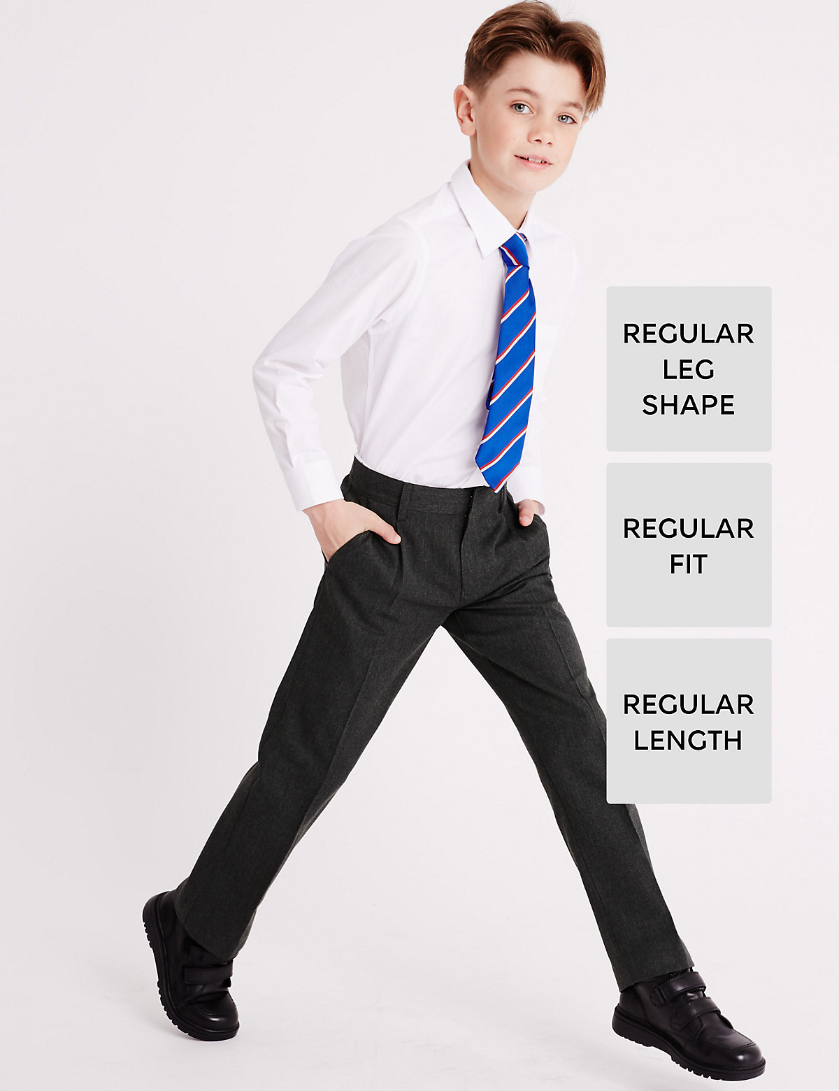 Boys' Pleat Front Supercrease Straight Leg Trousers with Crease-Resistance & Triple Action Stormwear.