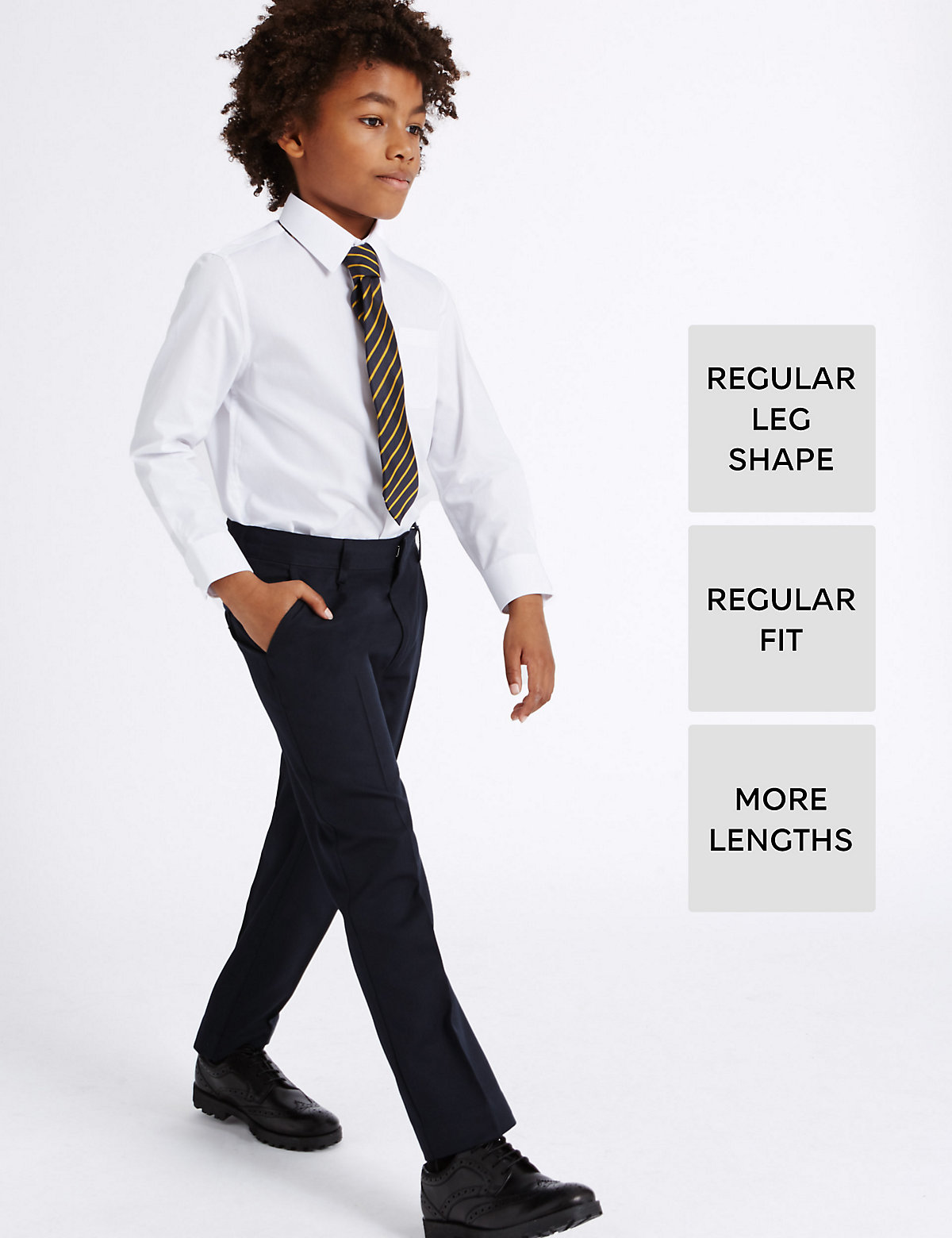 Image of Boys' Longer Length Supercrease Adjustable Waist Straight Leg Trousers with Triple Action Stormwear