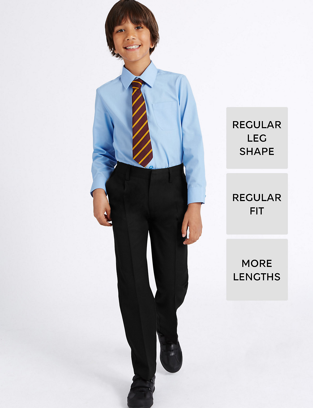 Boys' Longer Length Supercrease Adjustable Waist Straight Leg Trousers with Triple Action Stormwear.