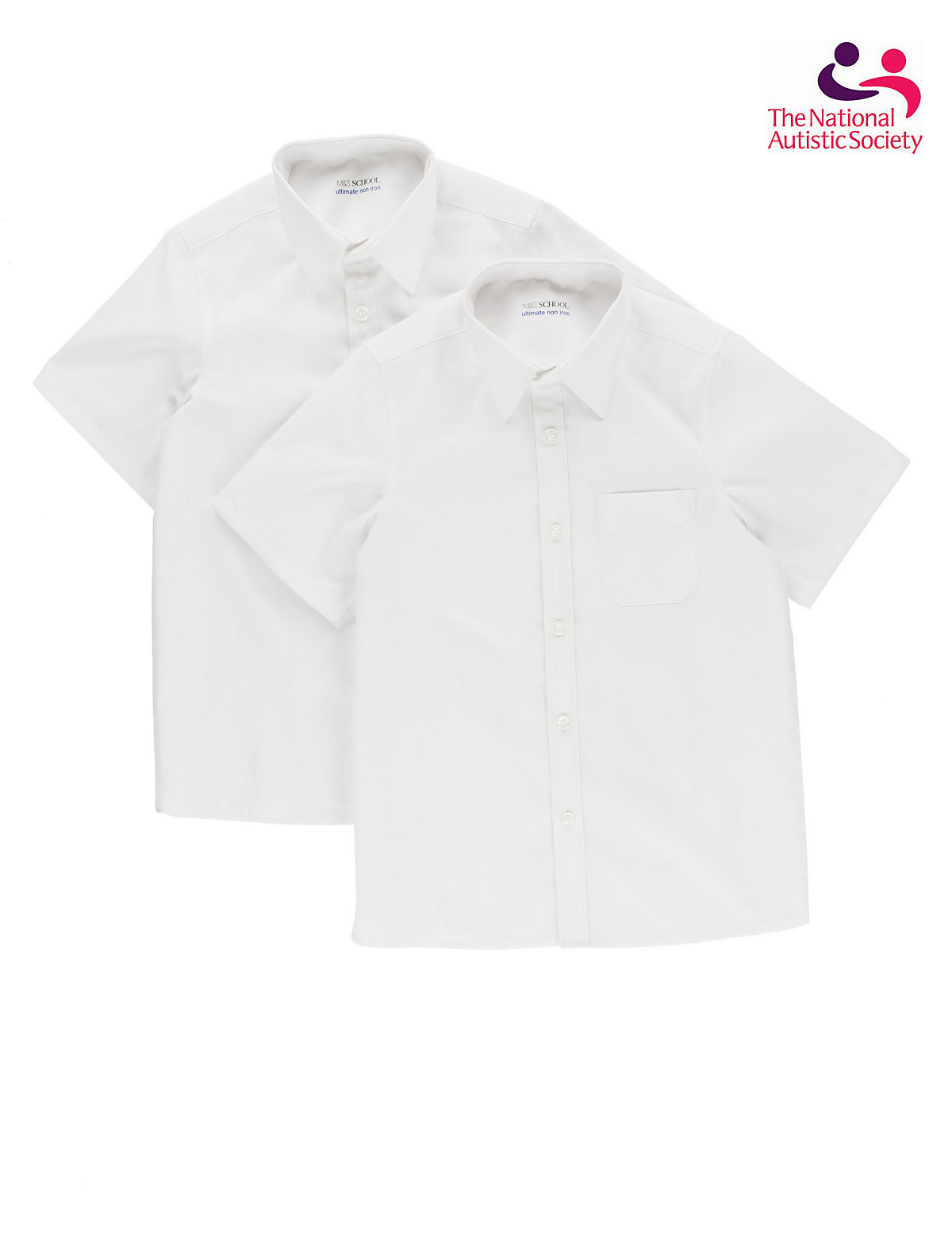 2 Pack Easy Dressing Ultimate Non-Iron Boys Short Sleeve Shirt