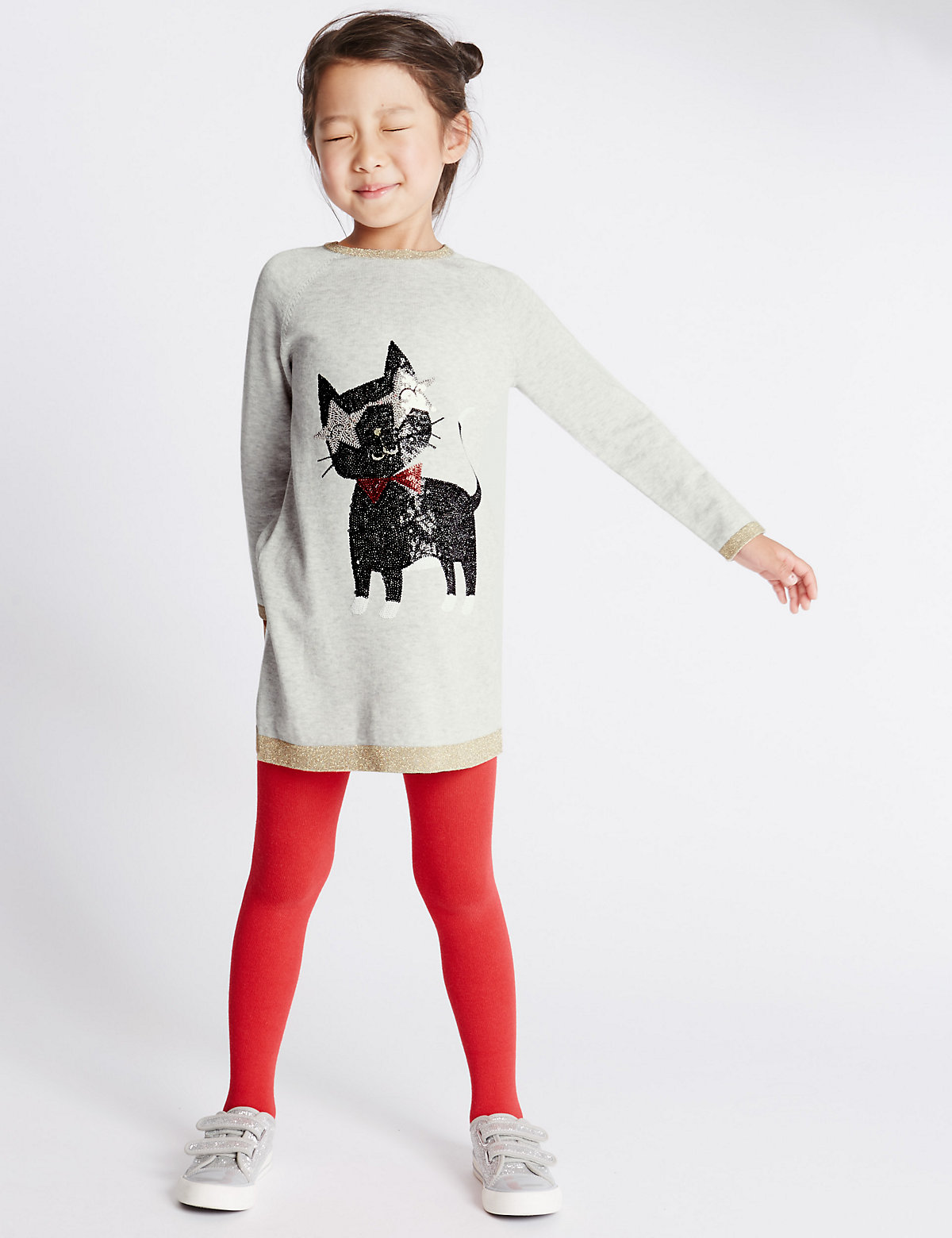 Sequin Knitted Dress with Tights (1-7 Years)