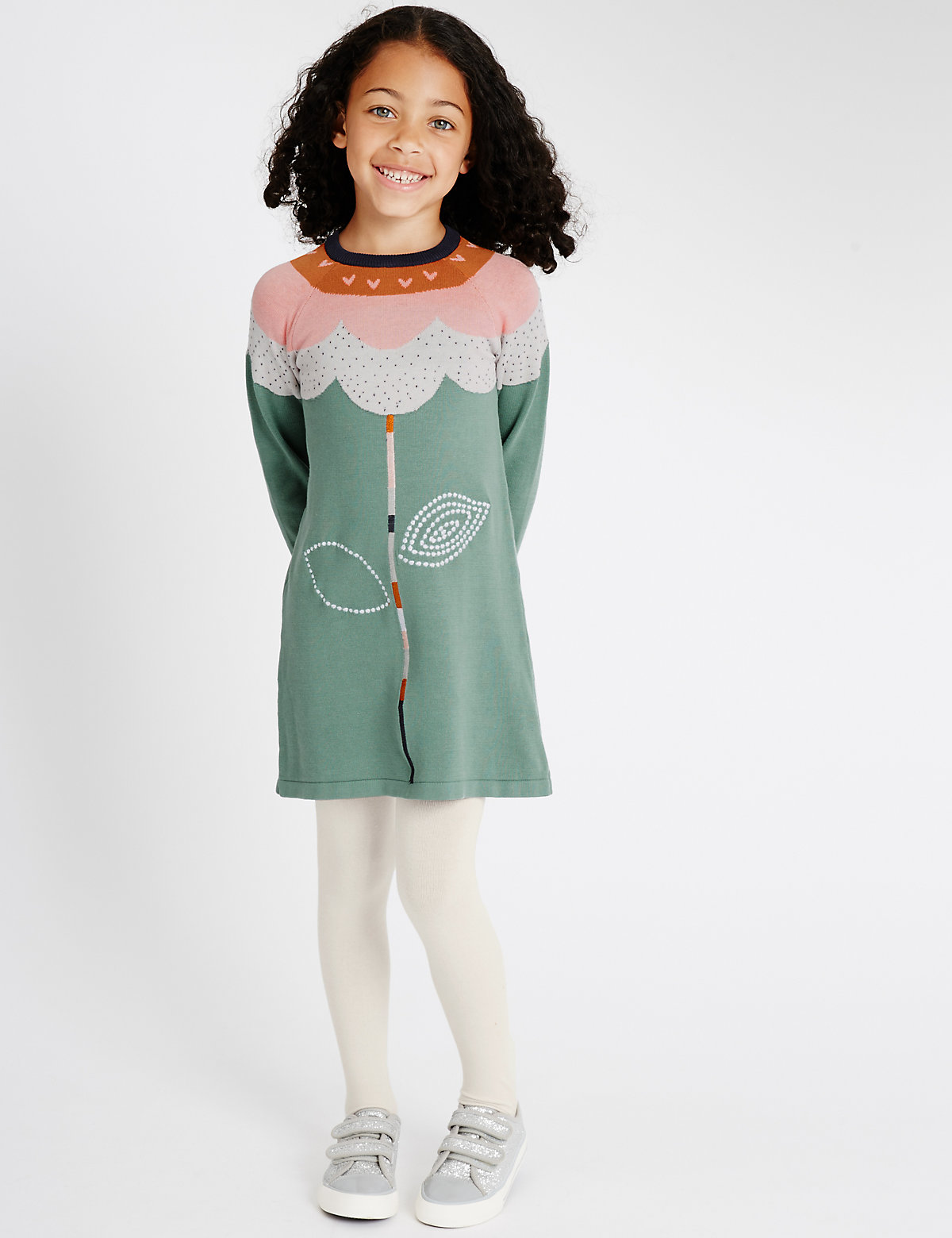 Pure Cotton Flower Knit Dress with Tights (1-7 Years)