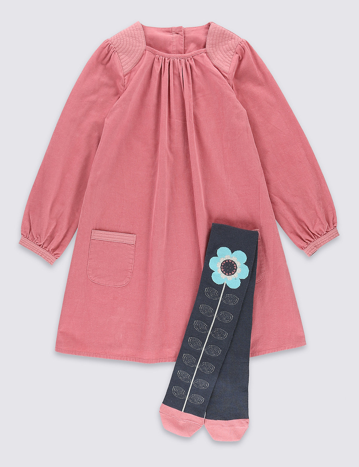 2 Piece Cord Dress with Tights (1-7 Years)