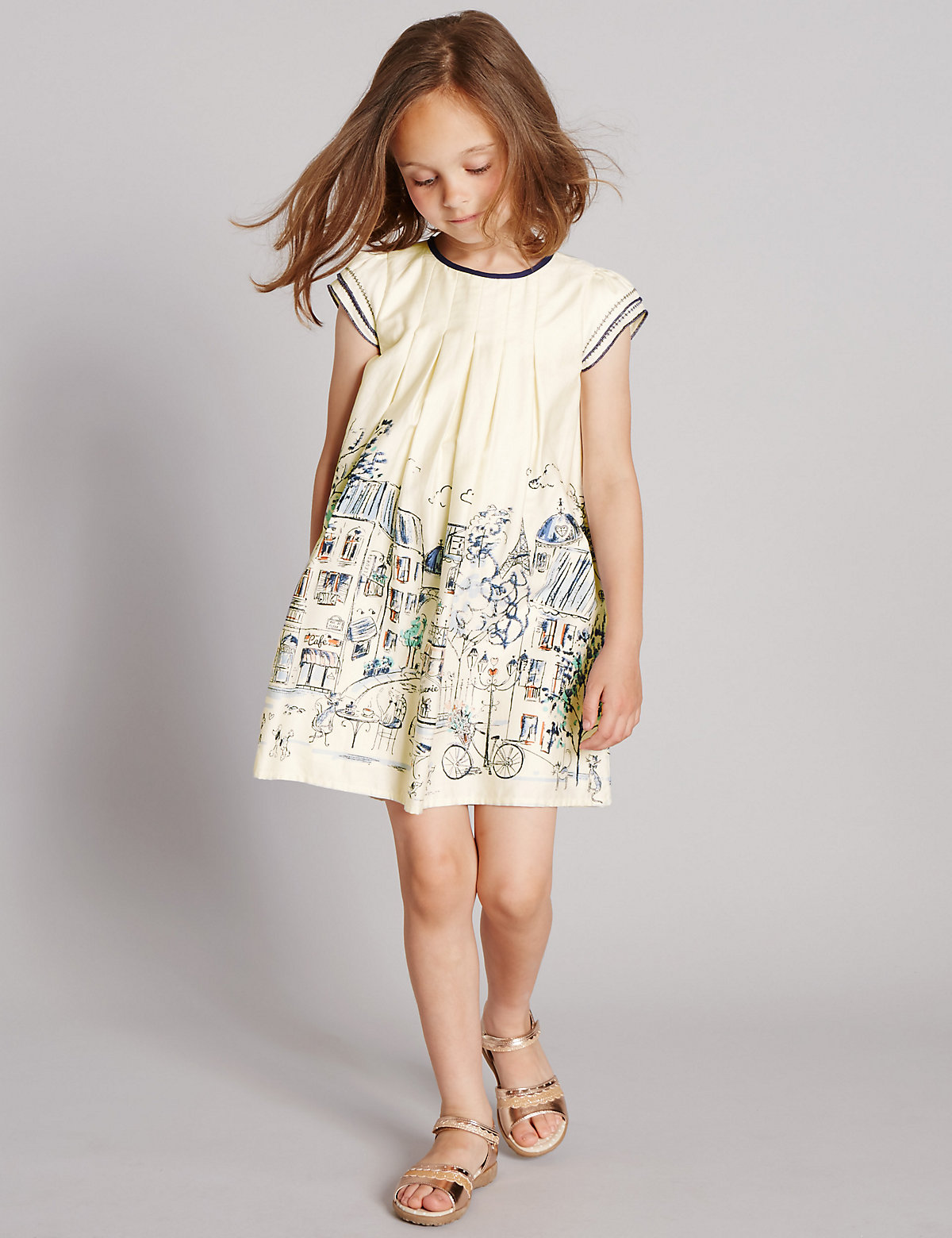 Autograph Pure Cotton Scenery Print Dress (1-7 Years)