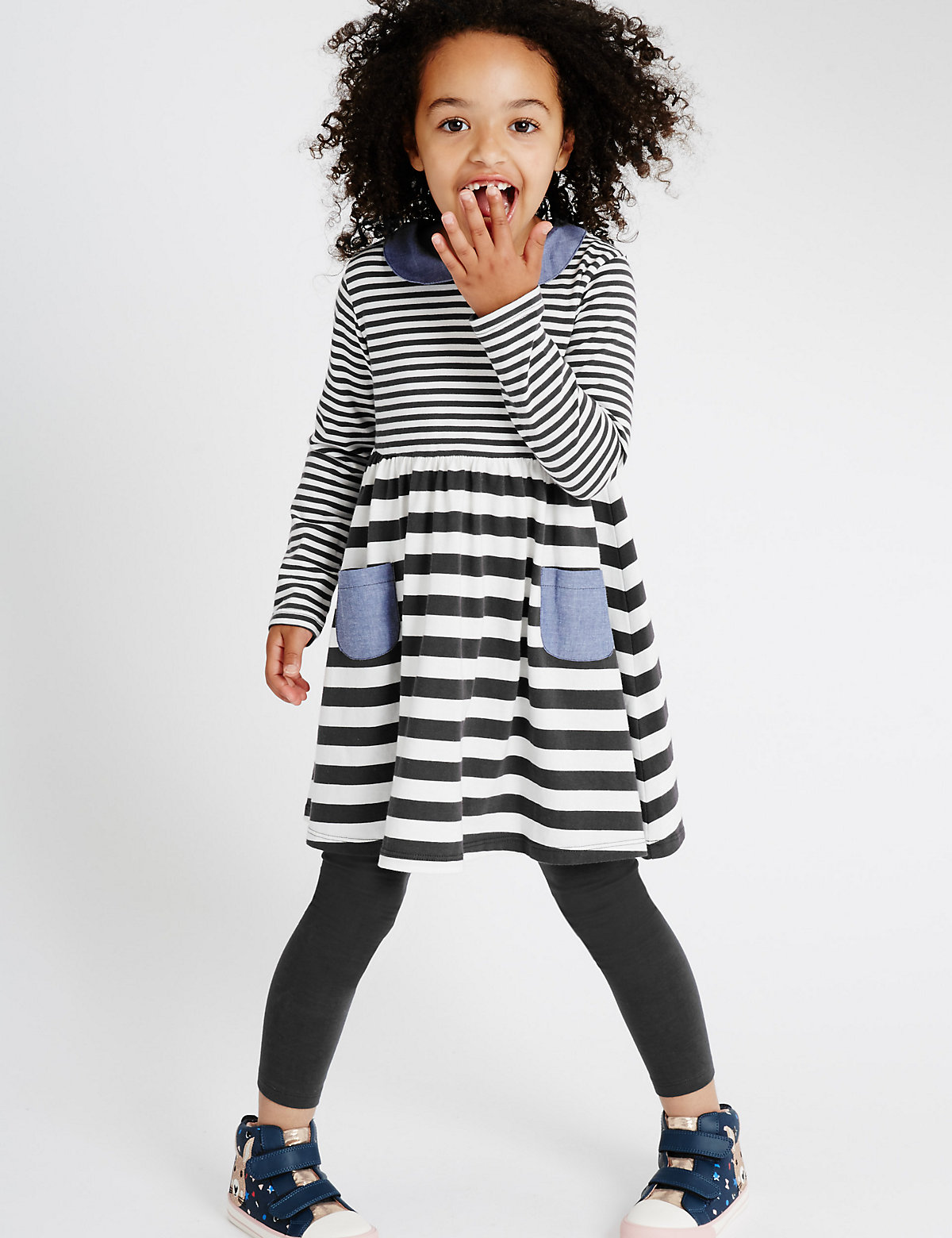 Striped Jersey Dress with Leggings (1-7 Years)