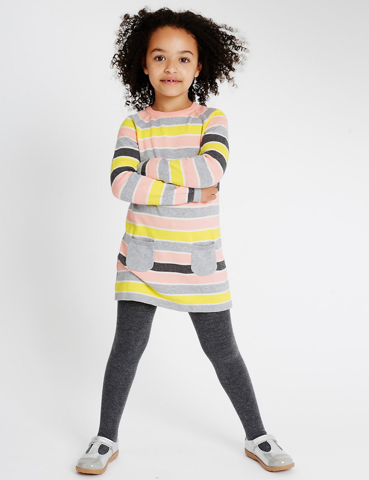 Striped Knit Dress with Tights (1-7 Years)