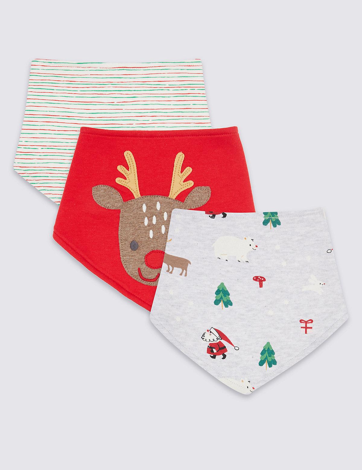 3 Pack Pure Cotton Christmas Print Bibs