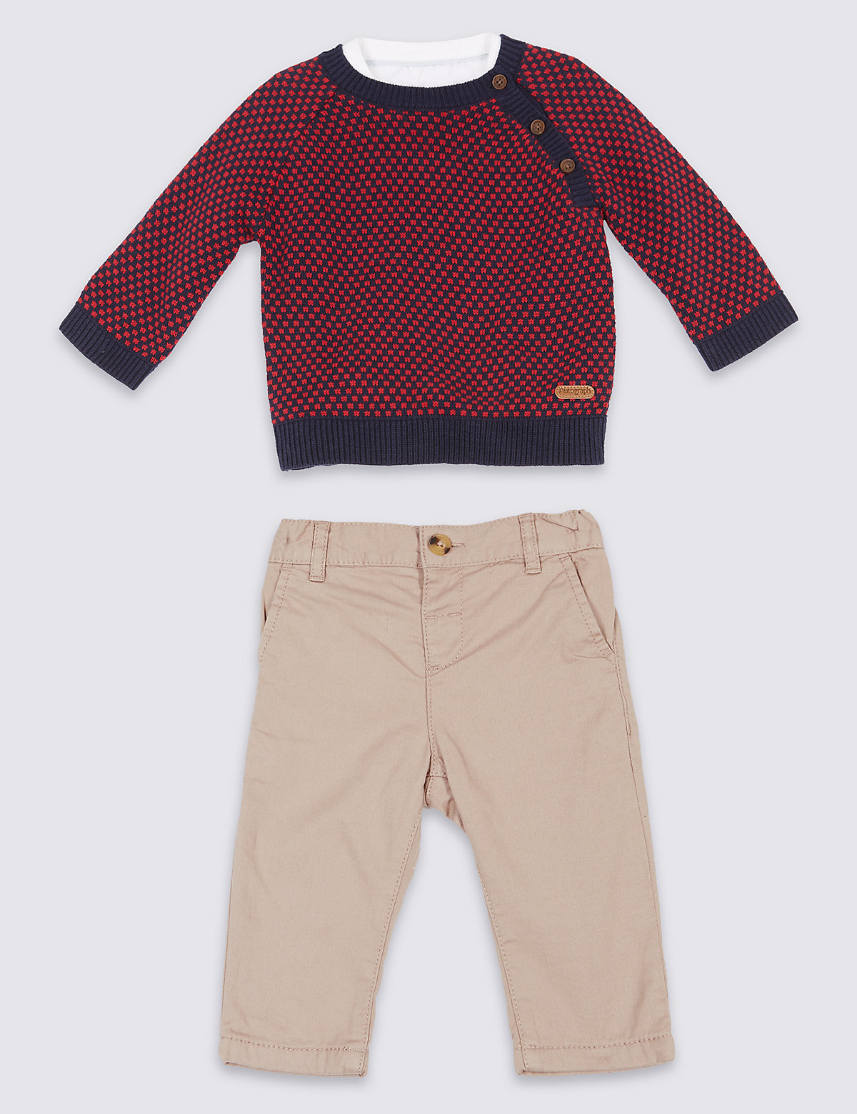 Autograph 3 Piece Pure Cotton Jumper & Shirt with Trousers
