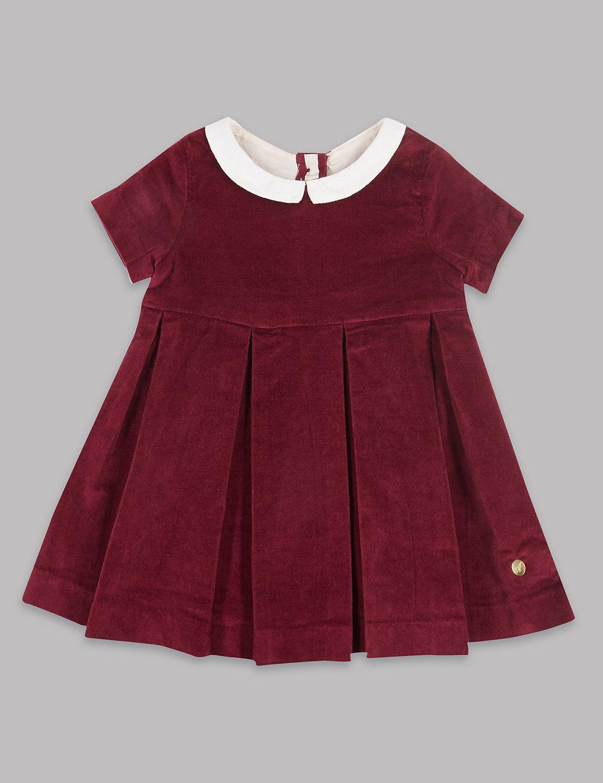 Autograph Velvet Contrasting Collar Pure Cotton Dress