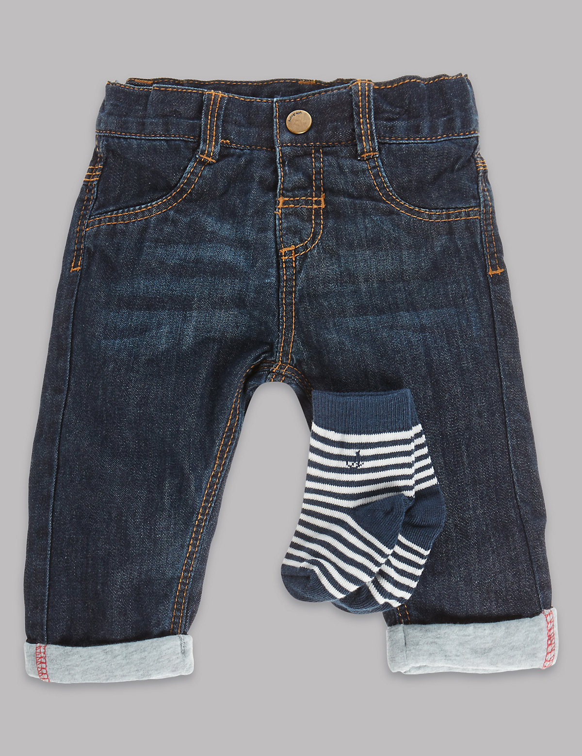 Autograph Pure Cotton Denim Jeans with Socks