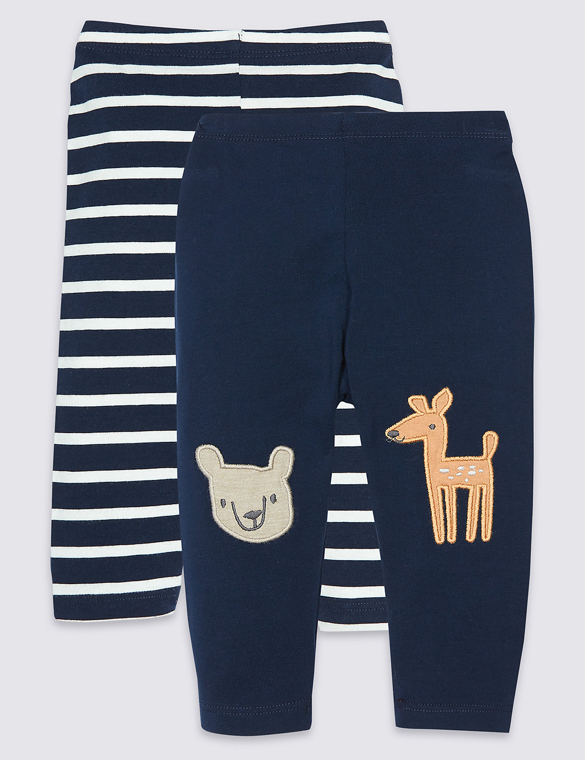 2 Pack Cotton Leggings with Stretch