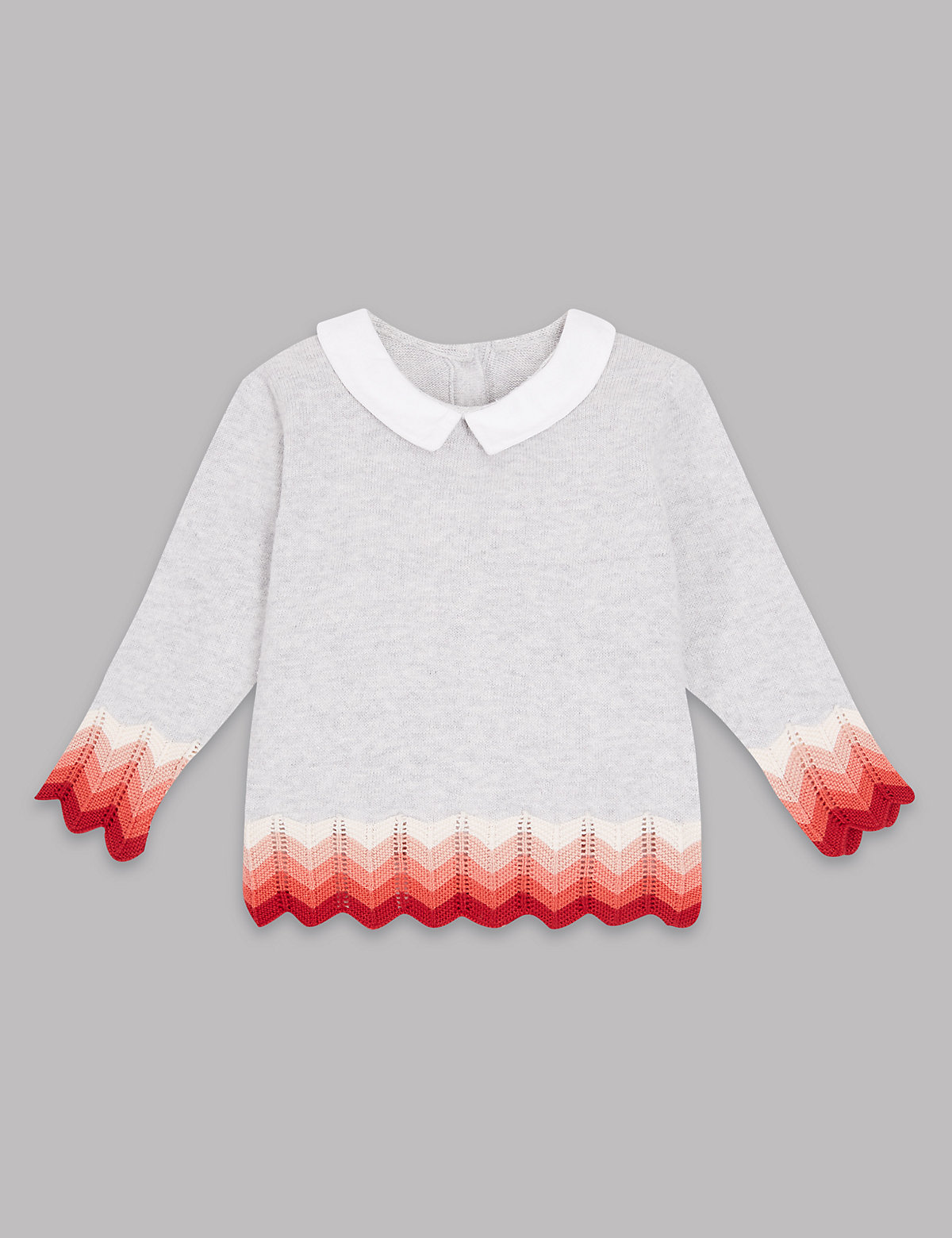 Autograph Pure Cotton Knitted Intarsia Collar Jumper