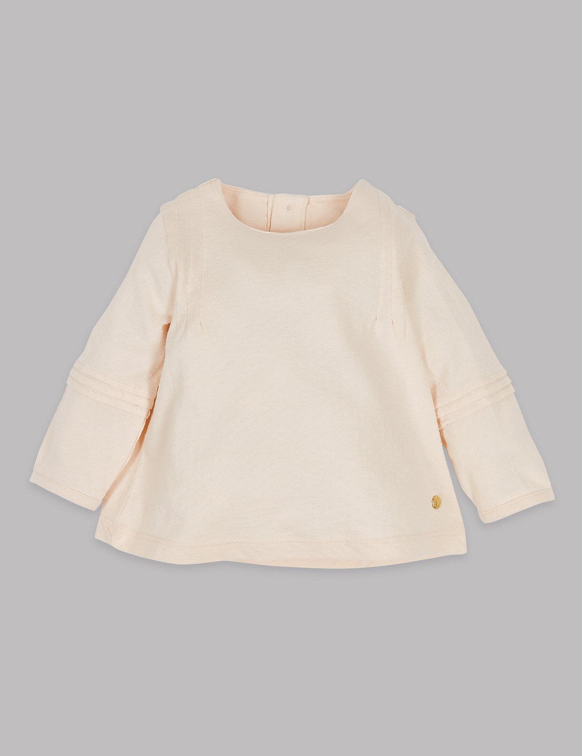 Autograph Pure Cotton Textured Jersey Top