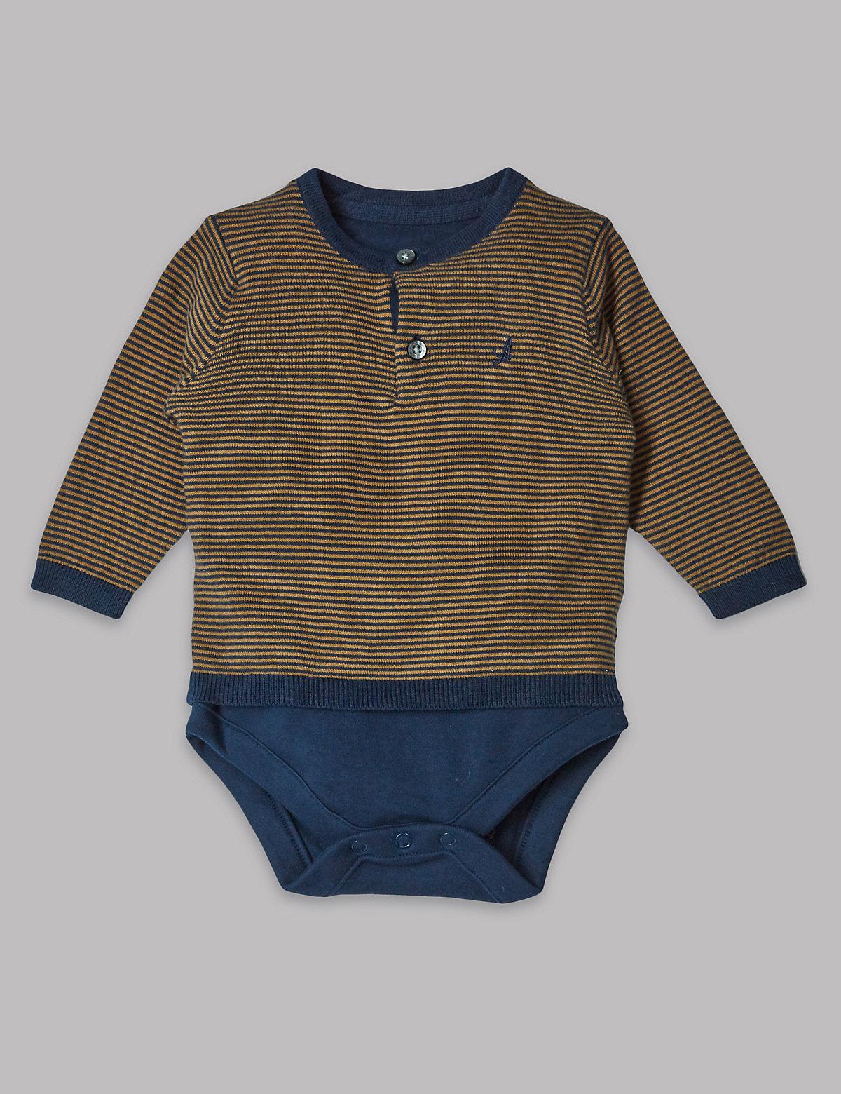 Autograph Knit Striped Pure Cotton Bodysuit