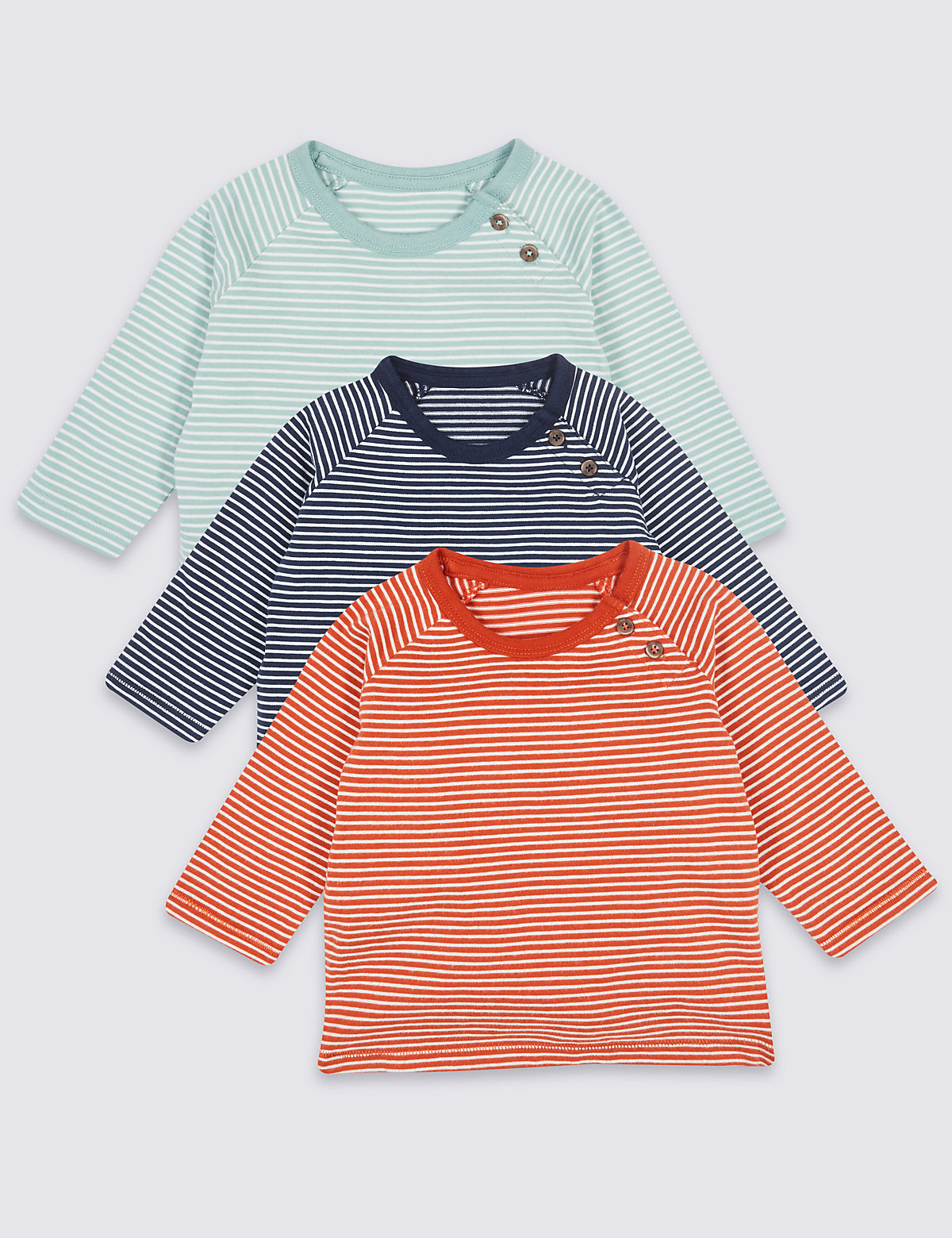 3 Pack Pure Cotton Striped T-Shirts